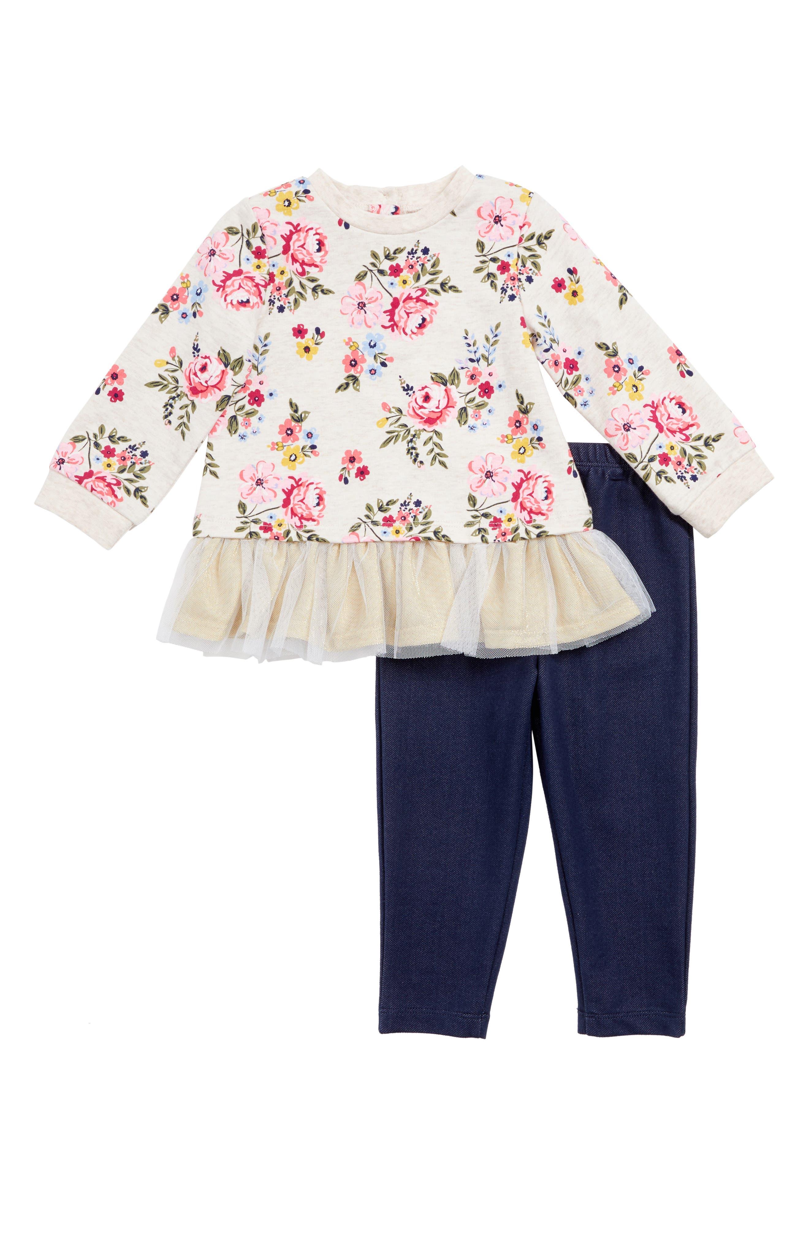 Alternate Image 1 Selected - Little Me Floral Top & Leggings Set (Baby Girls)