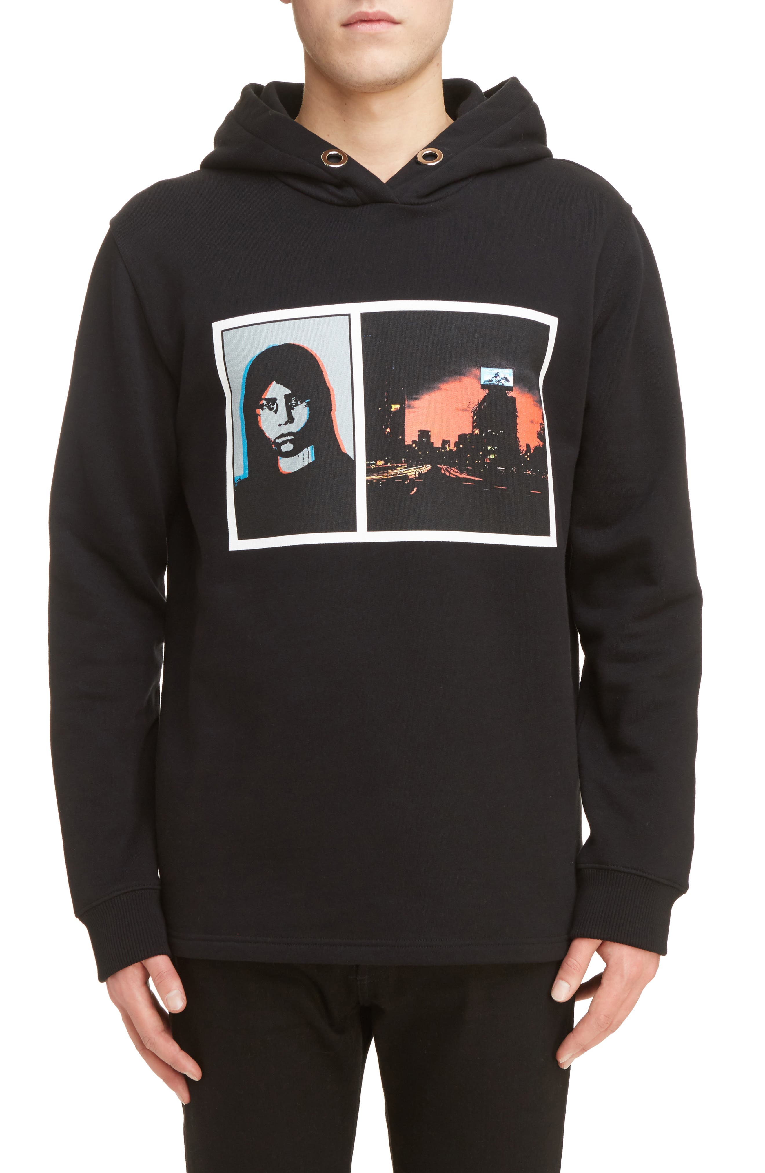 Abstract Photo Hoodie,                         Main,                         color, Black