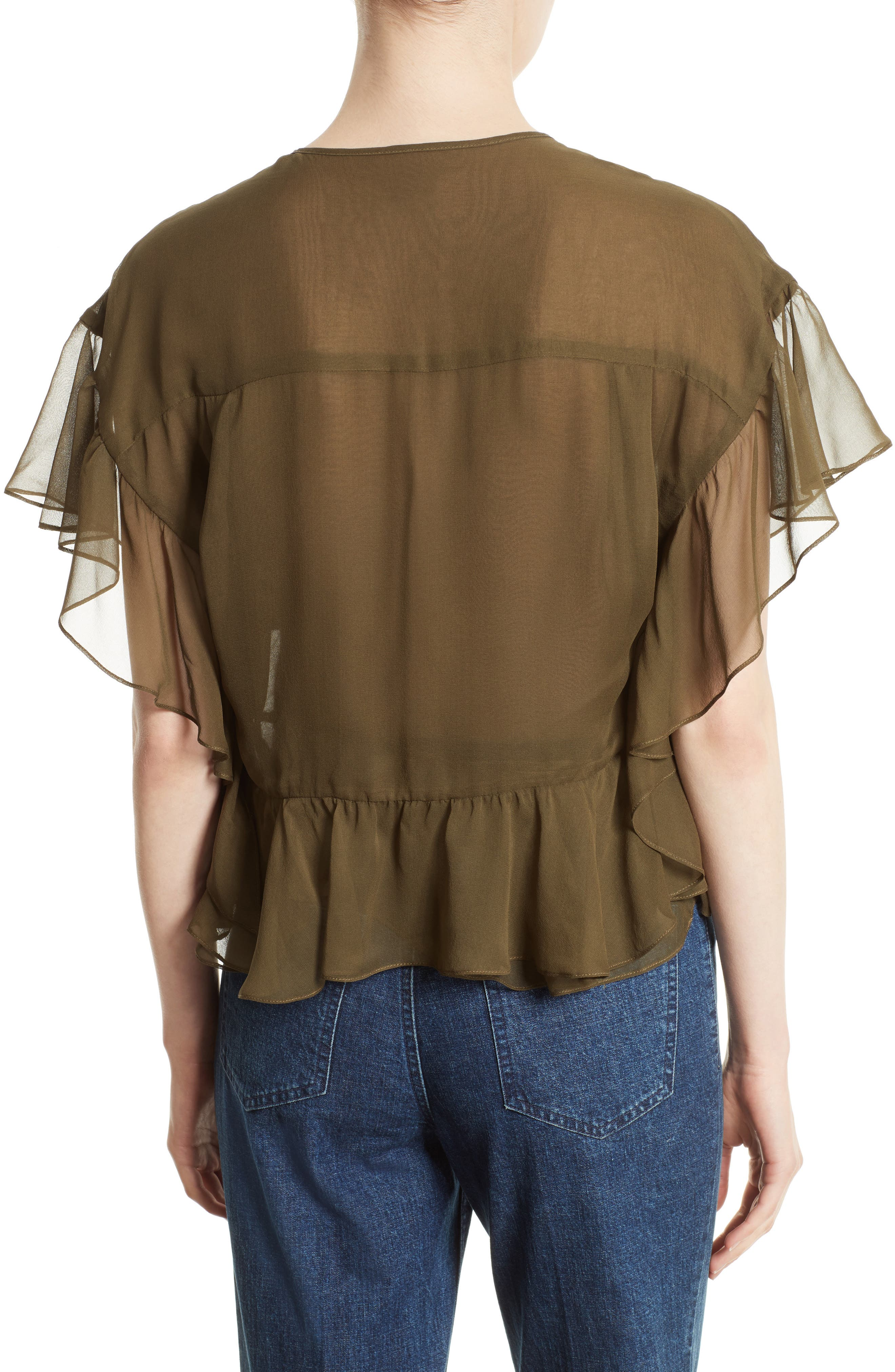 Floater Ruffle Silk Top,                             Alternate thumbnail 2, color,                             Olive