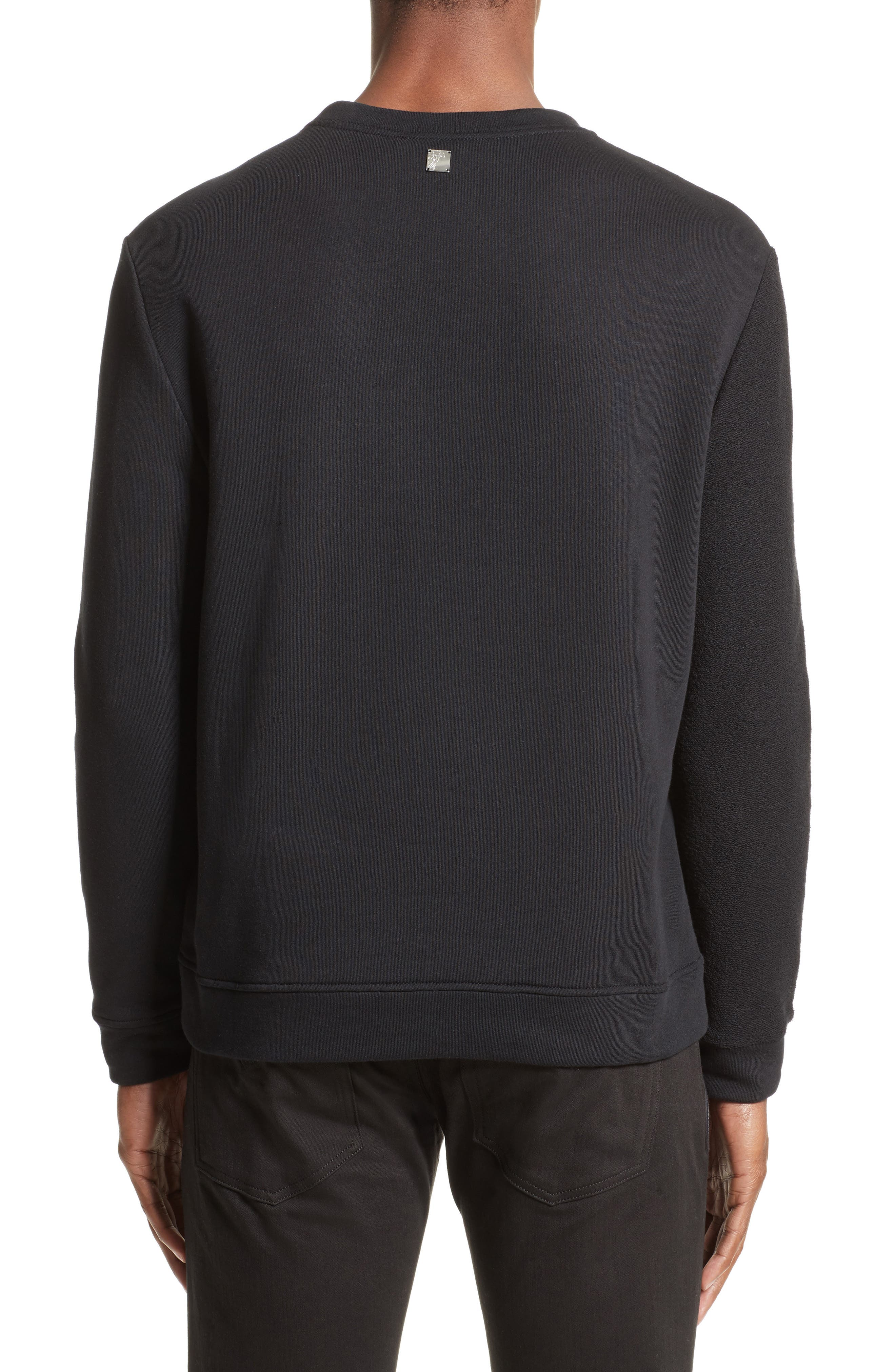 Reverse Terry Medusa Sweatshirt,                             Alternate thumbnail 2, color,                             Black