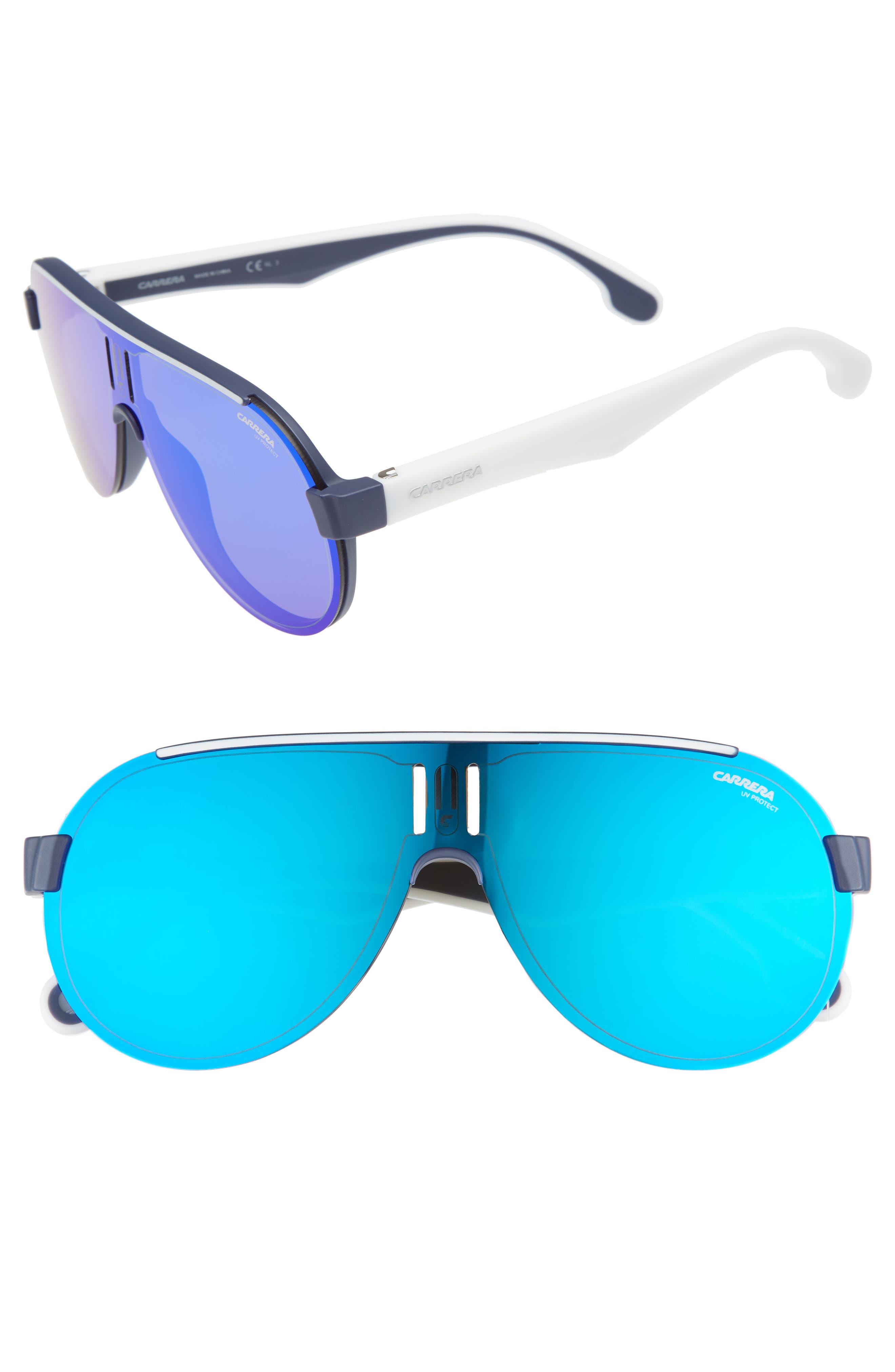 99mm Shield Sunglasses,                             Main thumbnail 1, color,                             Matte Blue/ Blue