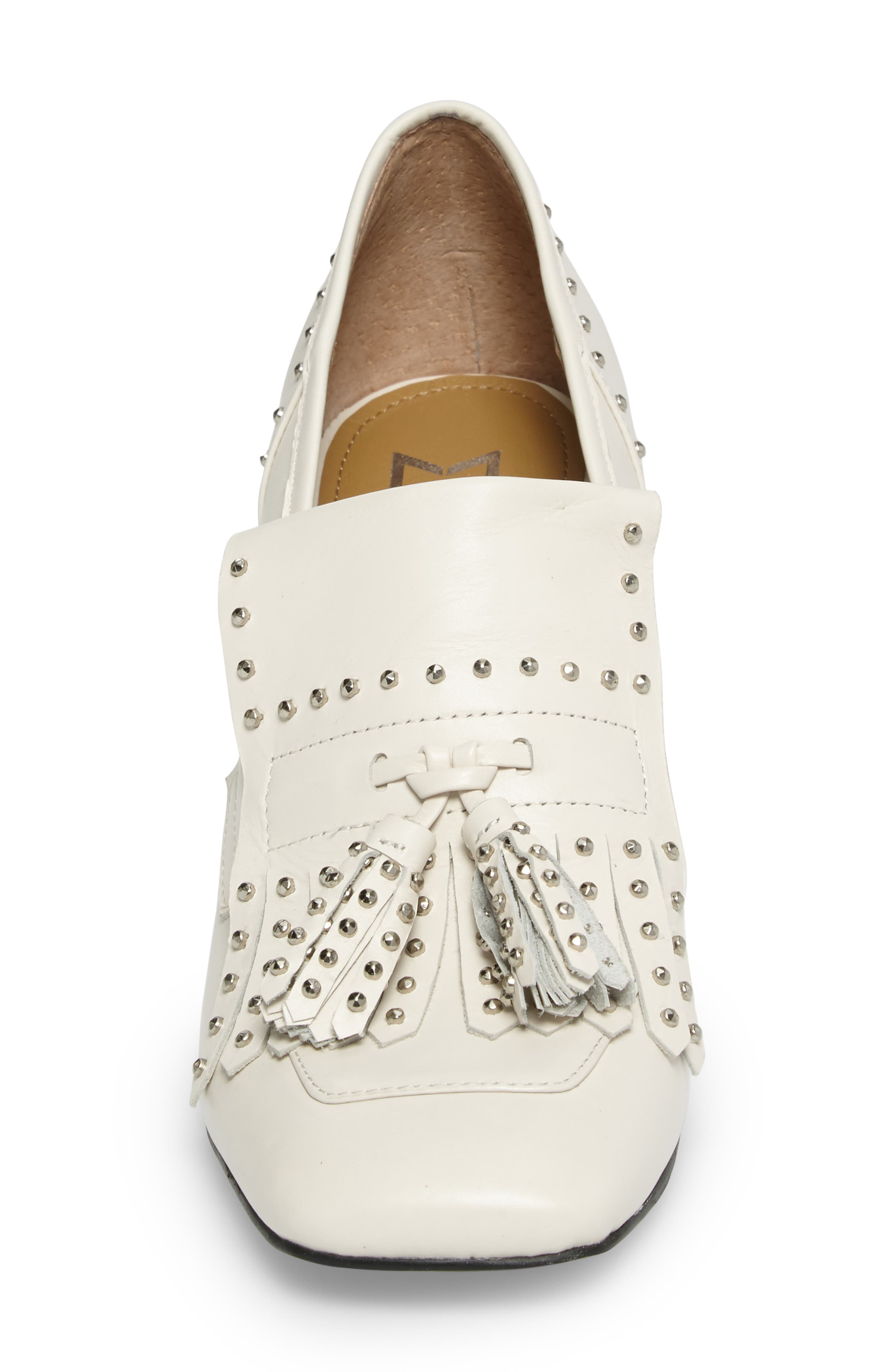 Mellie Fringe Pump,                             Alternate thumbnail 4, color,                             Ivory Leather