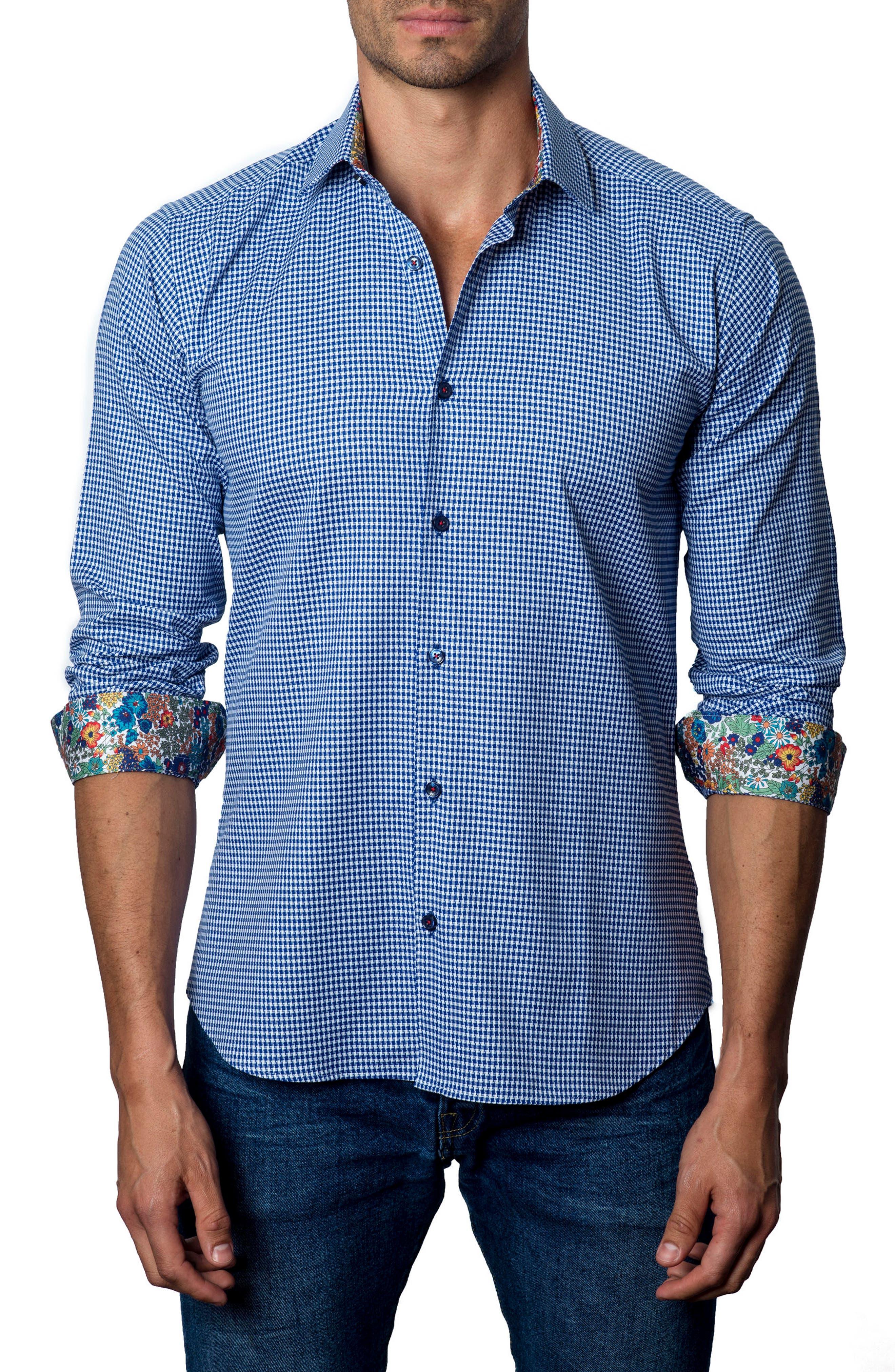 Houndstooth Sport Shirt,                             Main thumbnail 1, color,                             Dark Blue Plaid