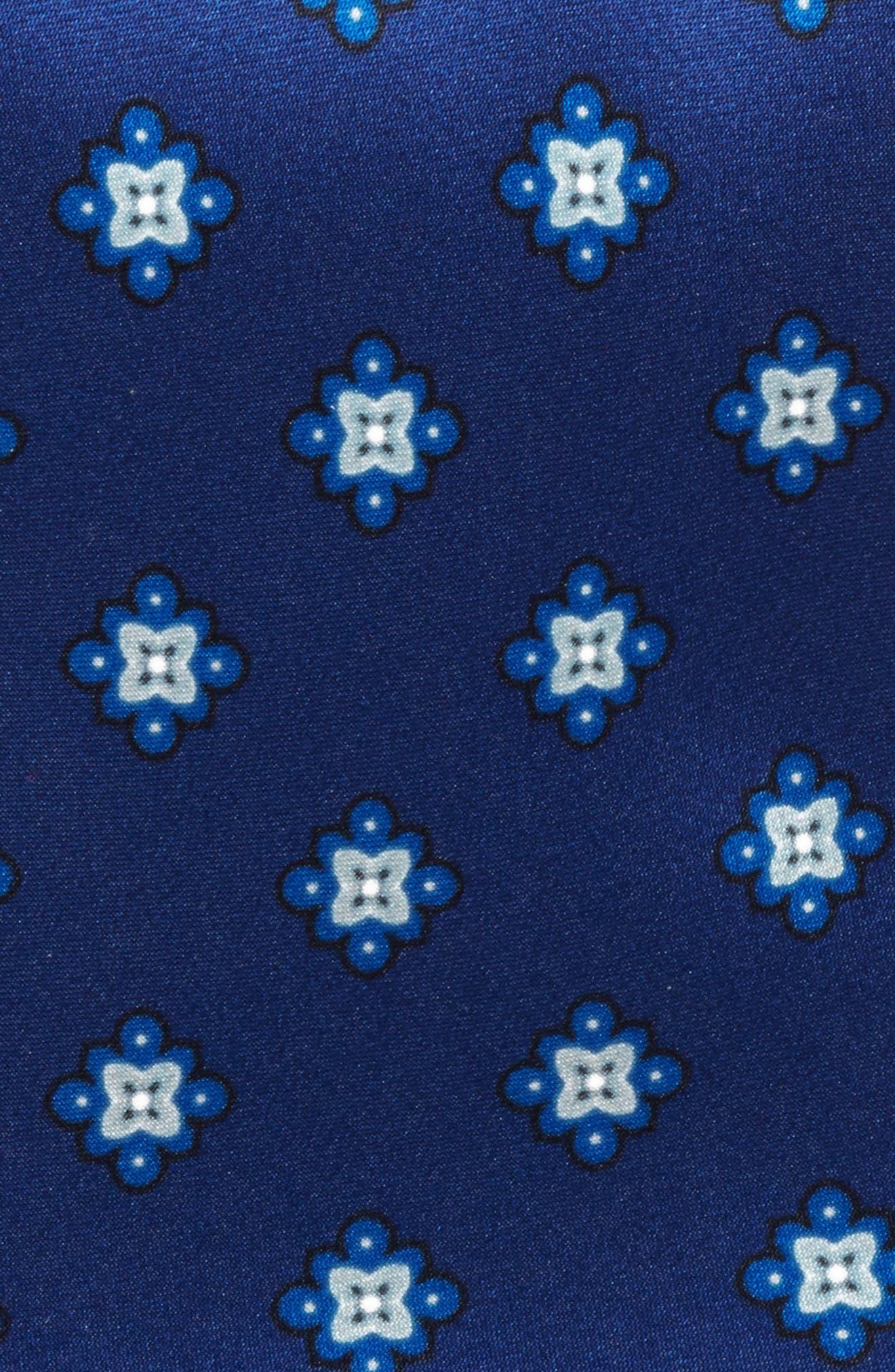 Duchess Satin Print Silk Tie,                             Alternate thumbnail 2, color,                             Navy