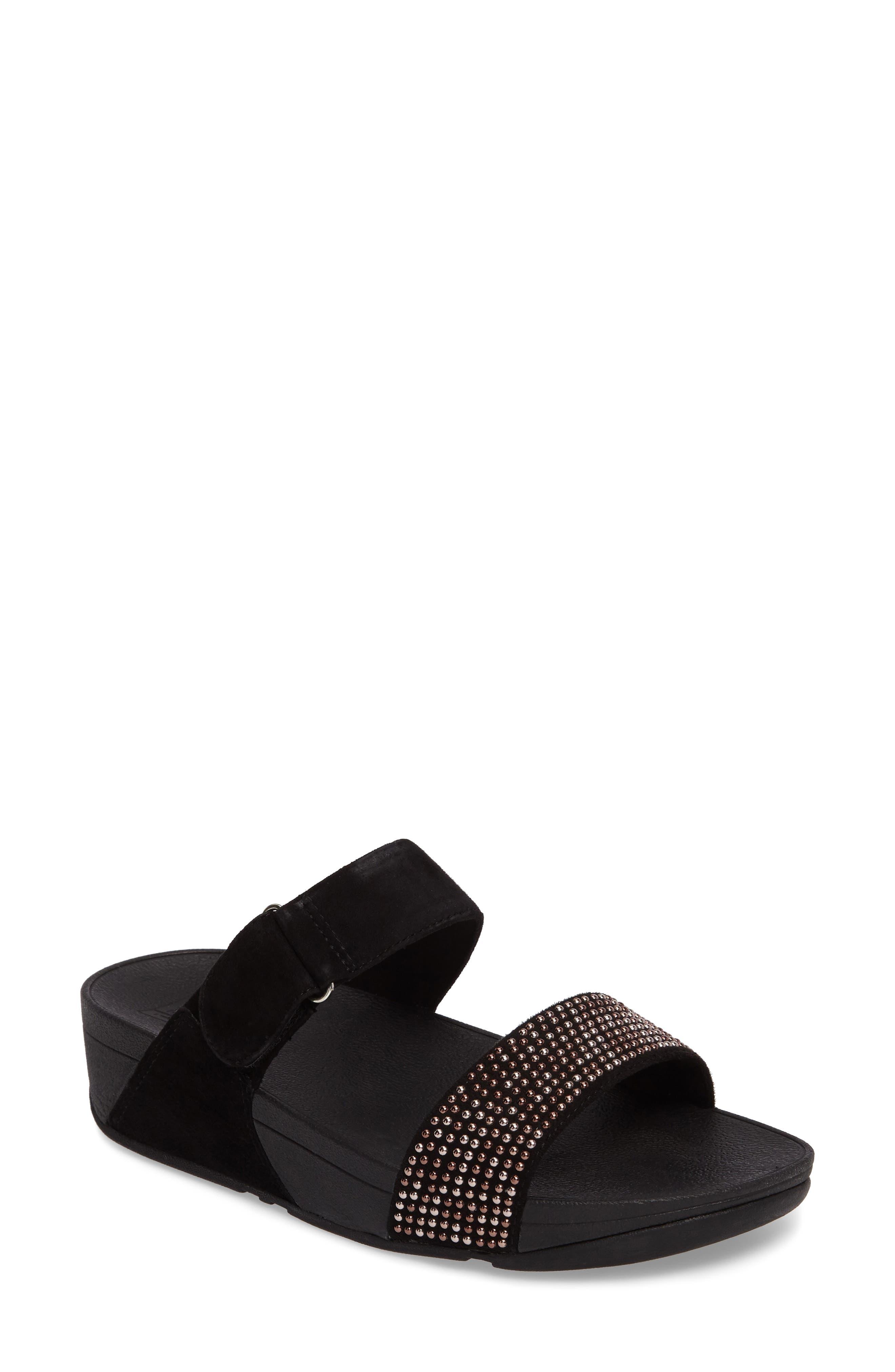 Lulu Popstud Wedge Slide Sandal,                             Main thumbnail 1, color,                             Black Fabric