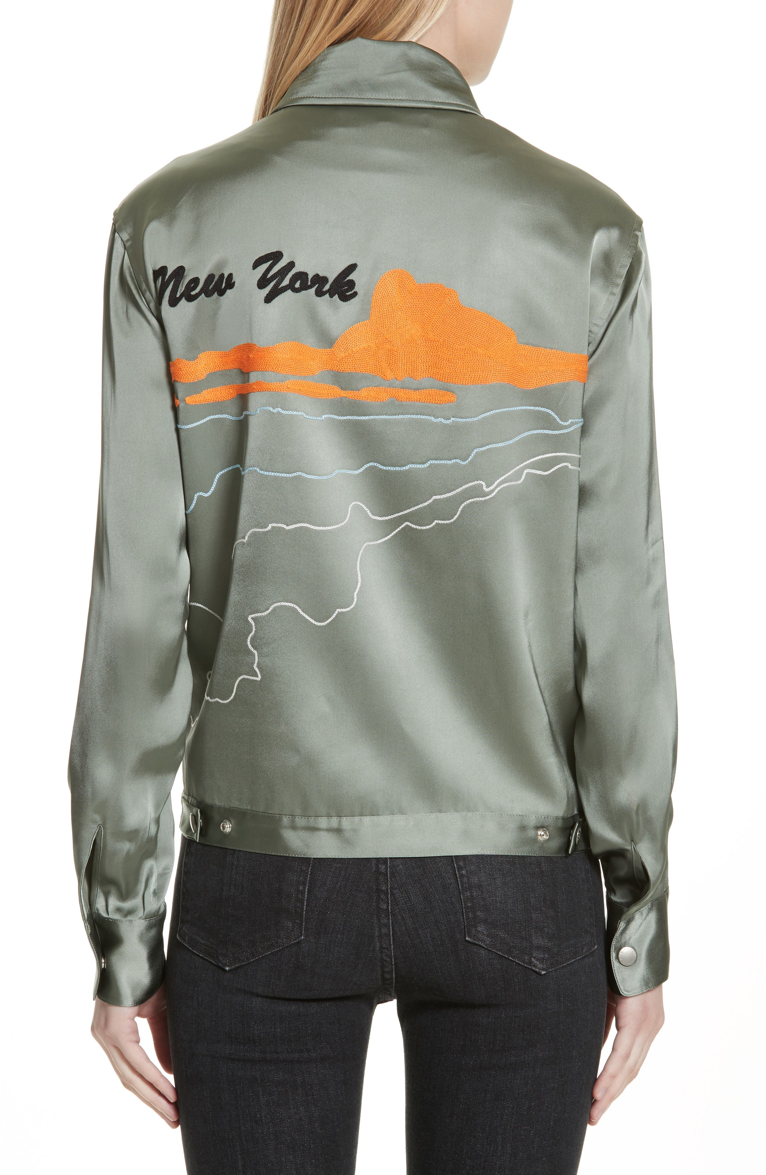 Alternate Image 2  - rag & bone Roth Embroidered Satin Jacket