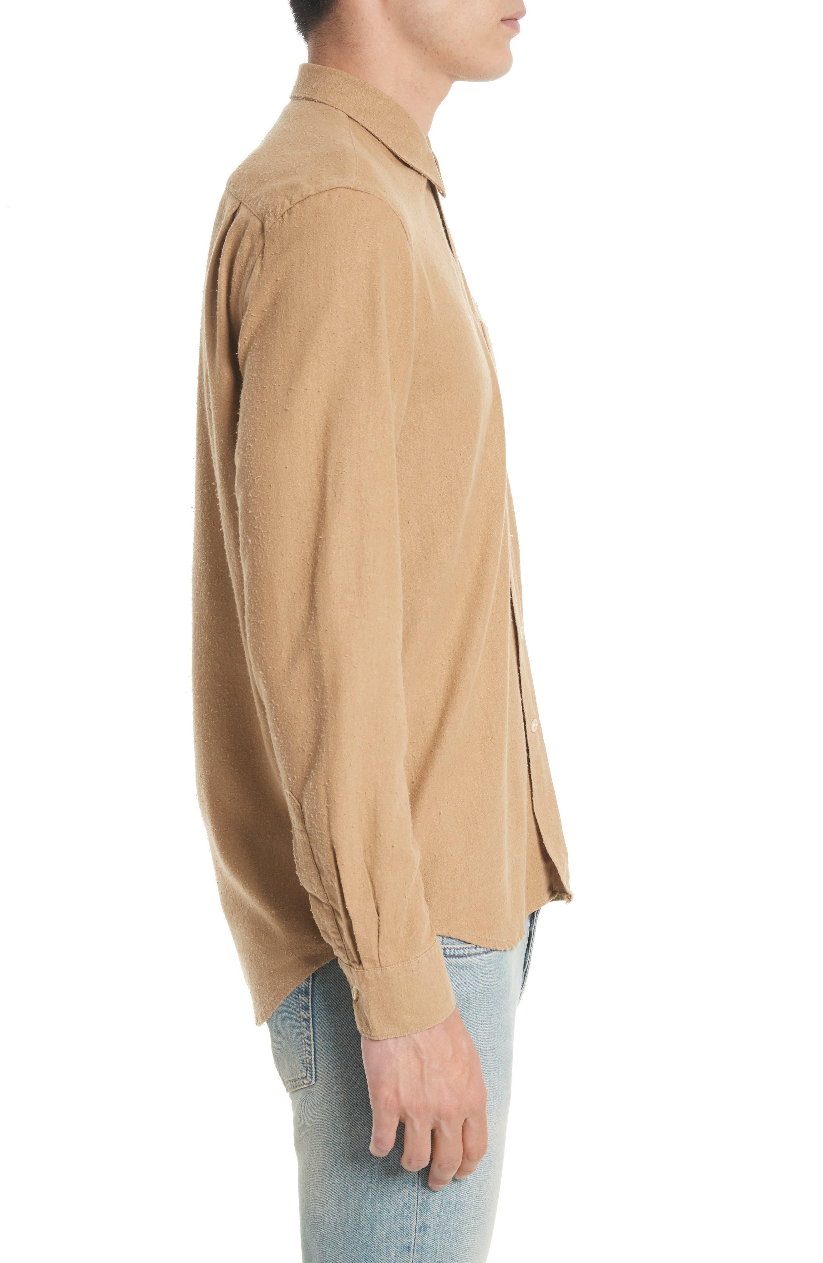 Regular Fit Silk Noil Sport Shirt,                             Alternate thumbnail 3, color,                             Tan