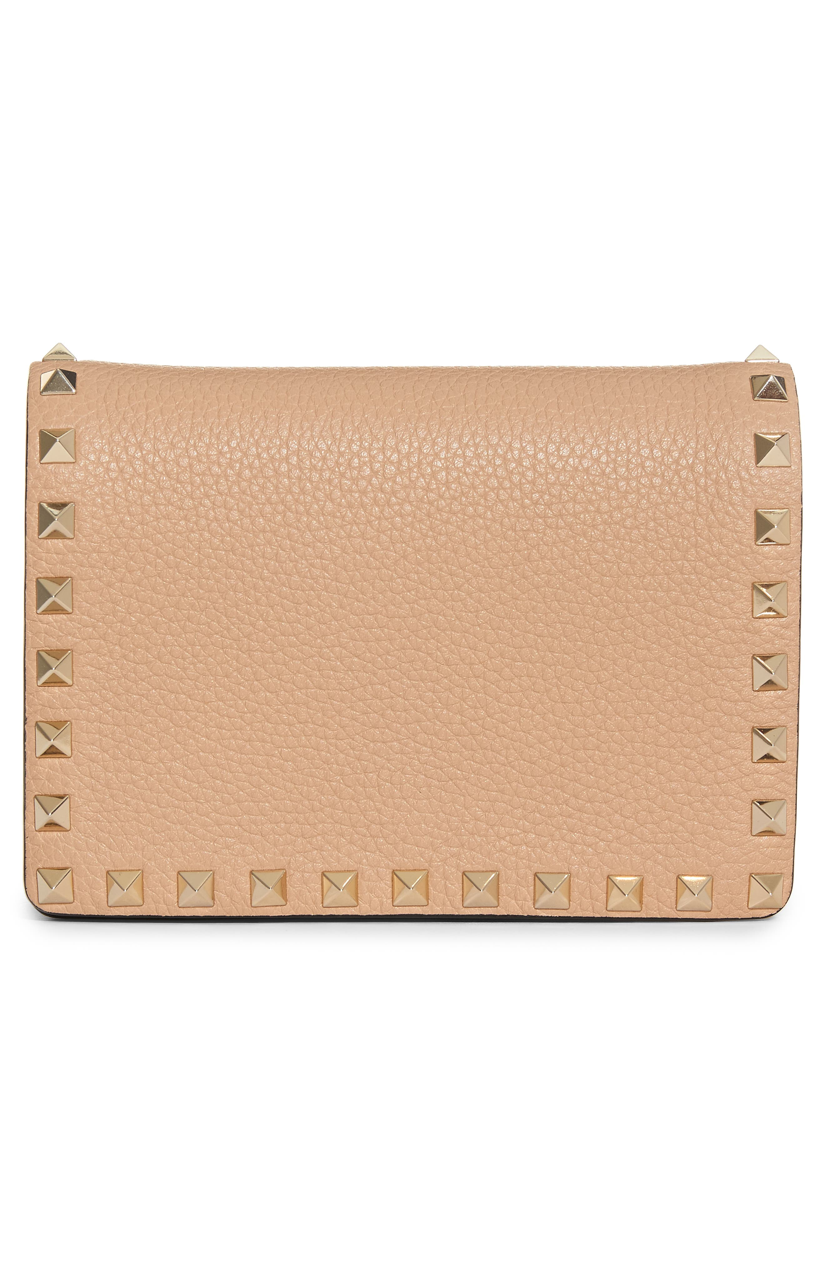 Rockstud Leather Wallet on a Chain,                             Alternate thumbnail 3, color,                             Camel Rose