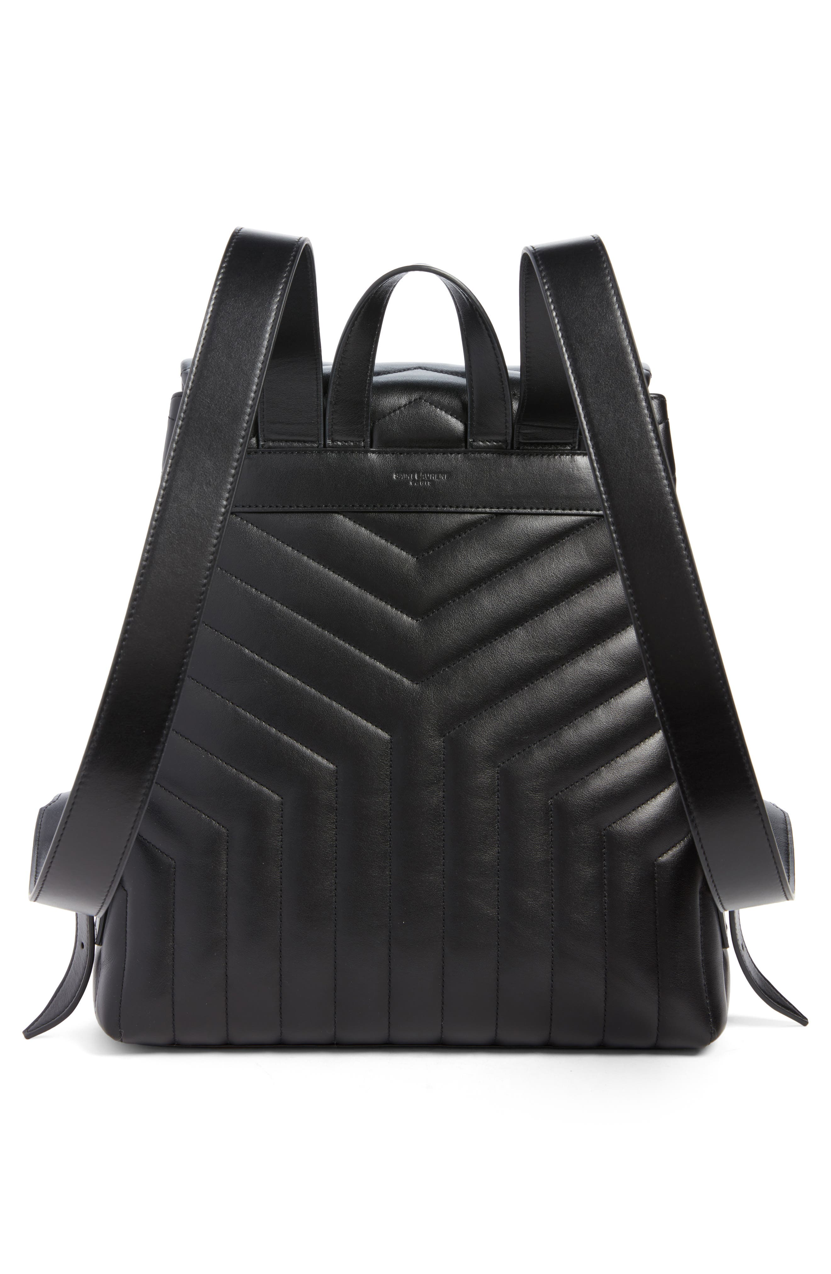 Medium Loulou Calfskin Leather Backpack,                             Alternate thumbnail 3, color,                             Black