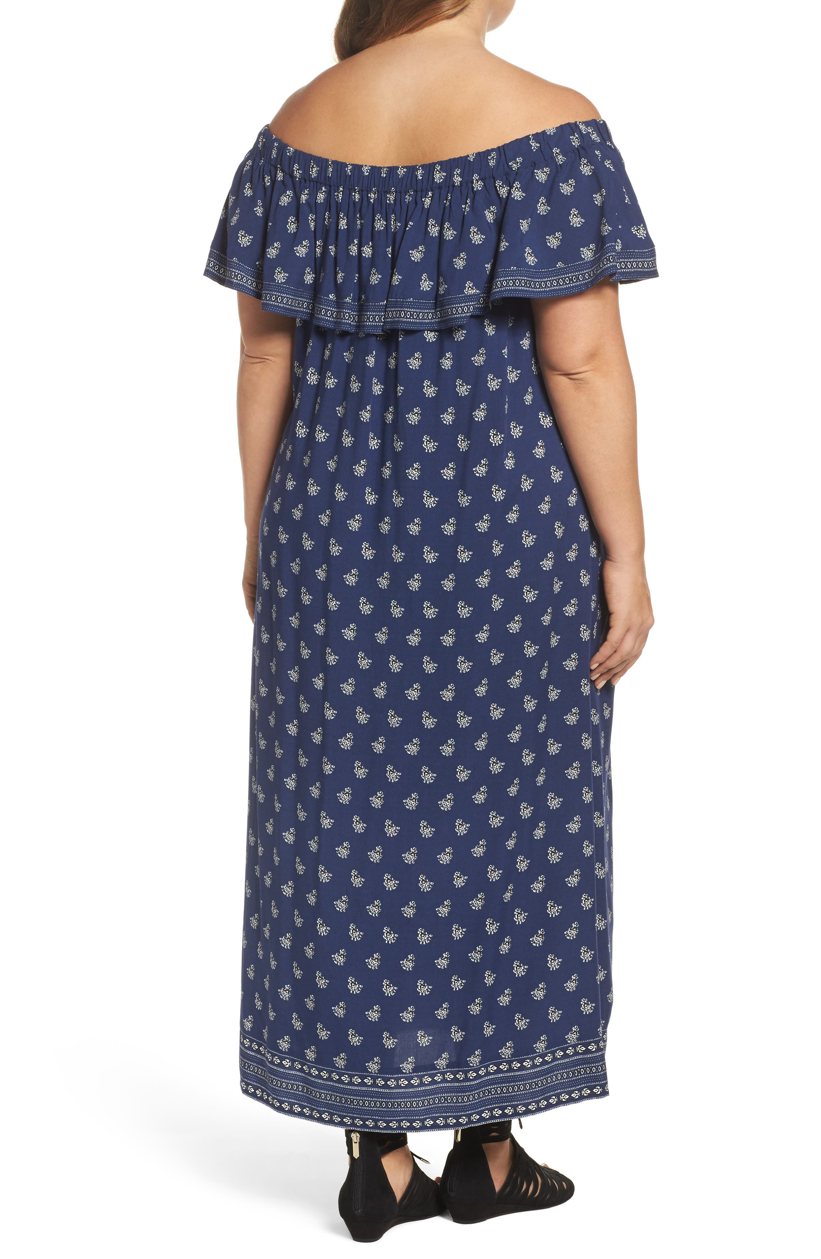 Alternate Image 2  - Two by Vince Camuto Paisley Off the Shoulder Maxi Dress (Plus Size)