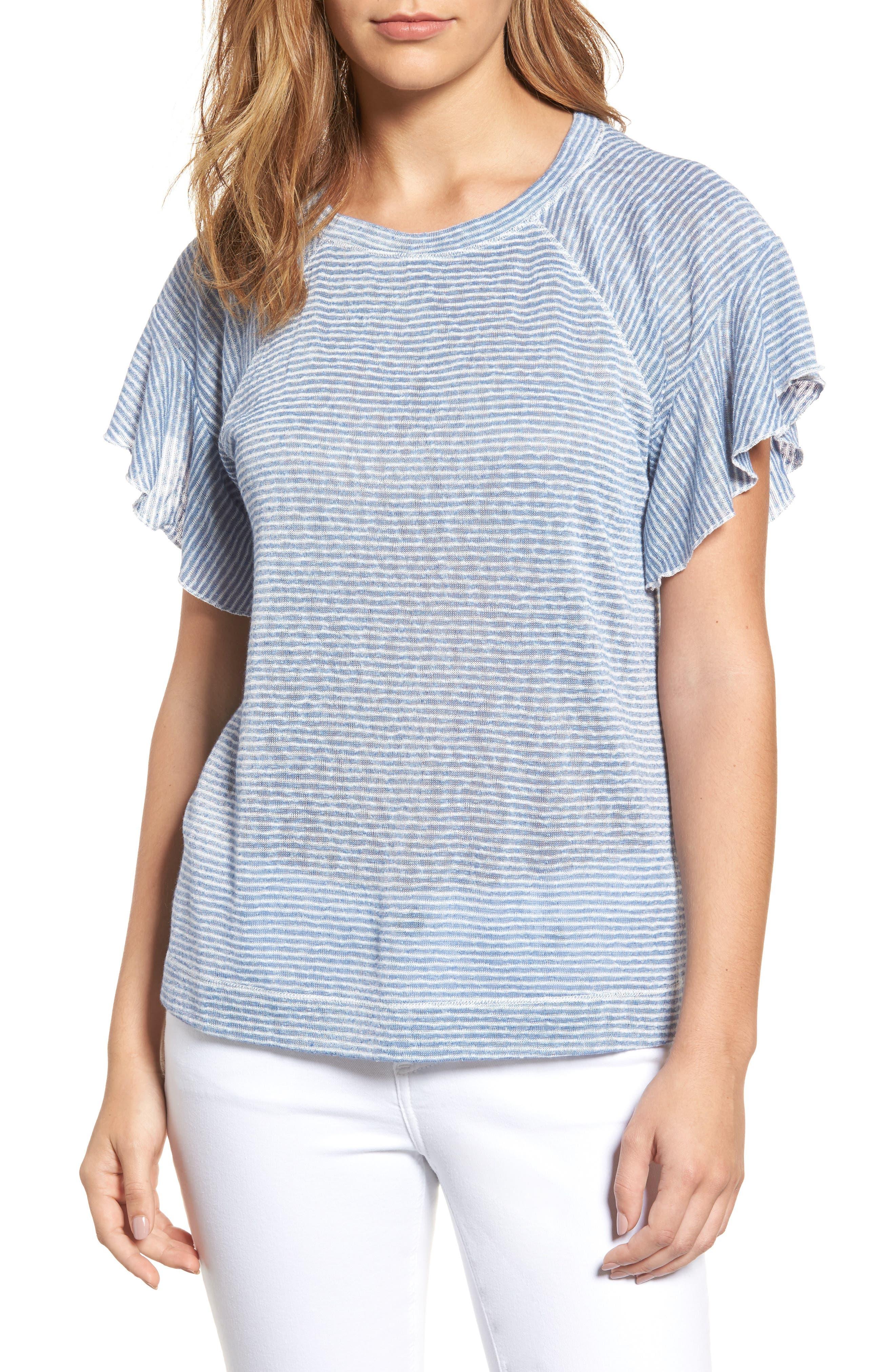 Stripe Knit Flutter Sleeve Top,                             Main thumbnail 1, color,                             Off White/ Blue