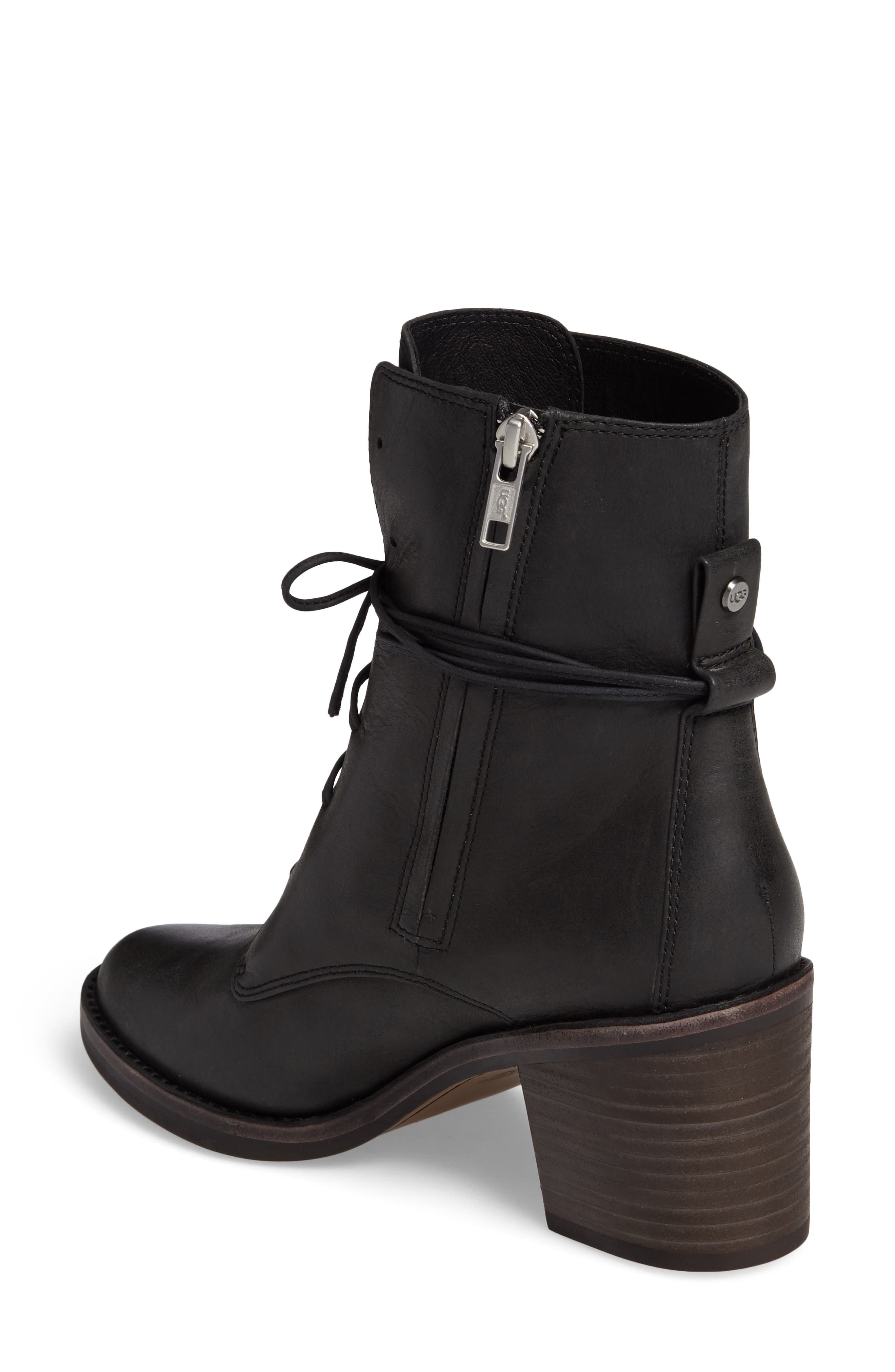 Oriana Lace-Up Boot,                             Alternate thumbnail 2, color,                             Black Leather