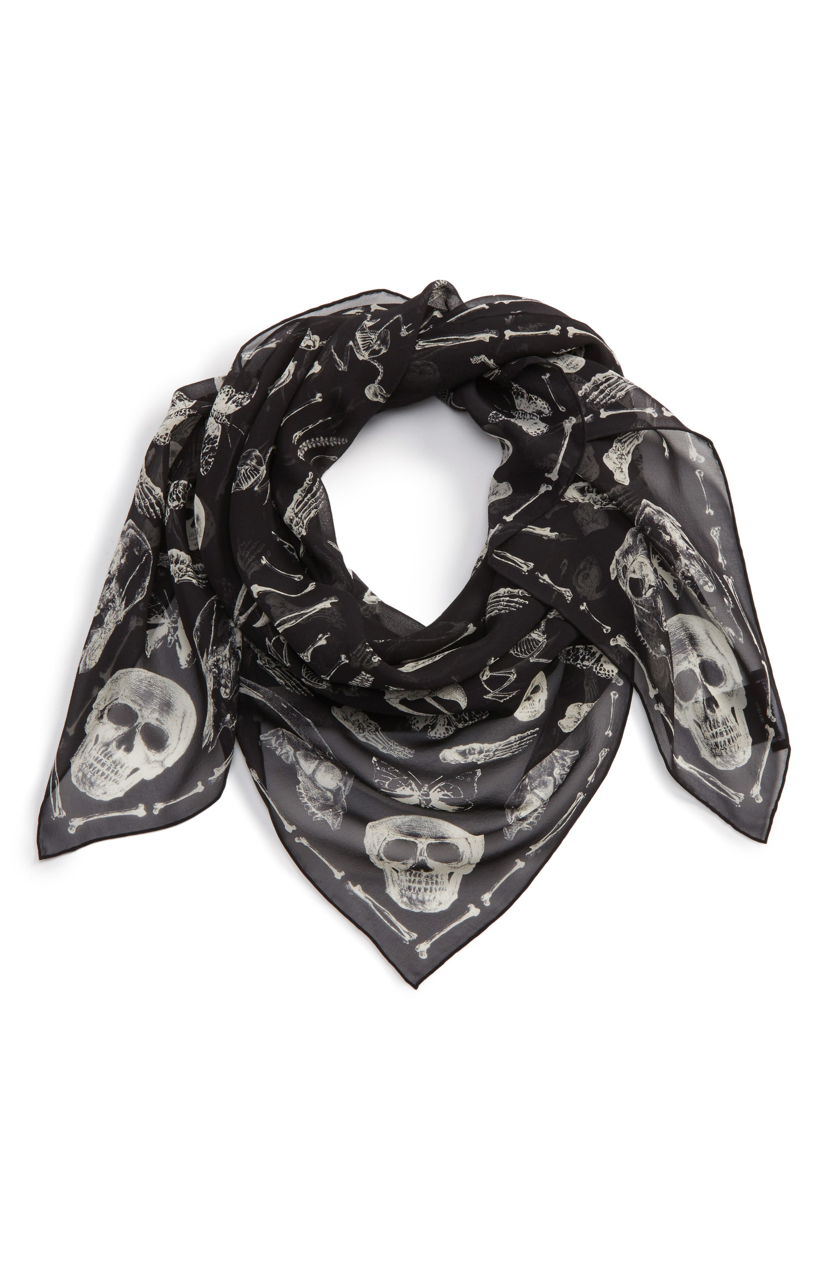 Silk Scarf,                         Main,                         color, Black/ Ivory