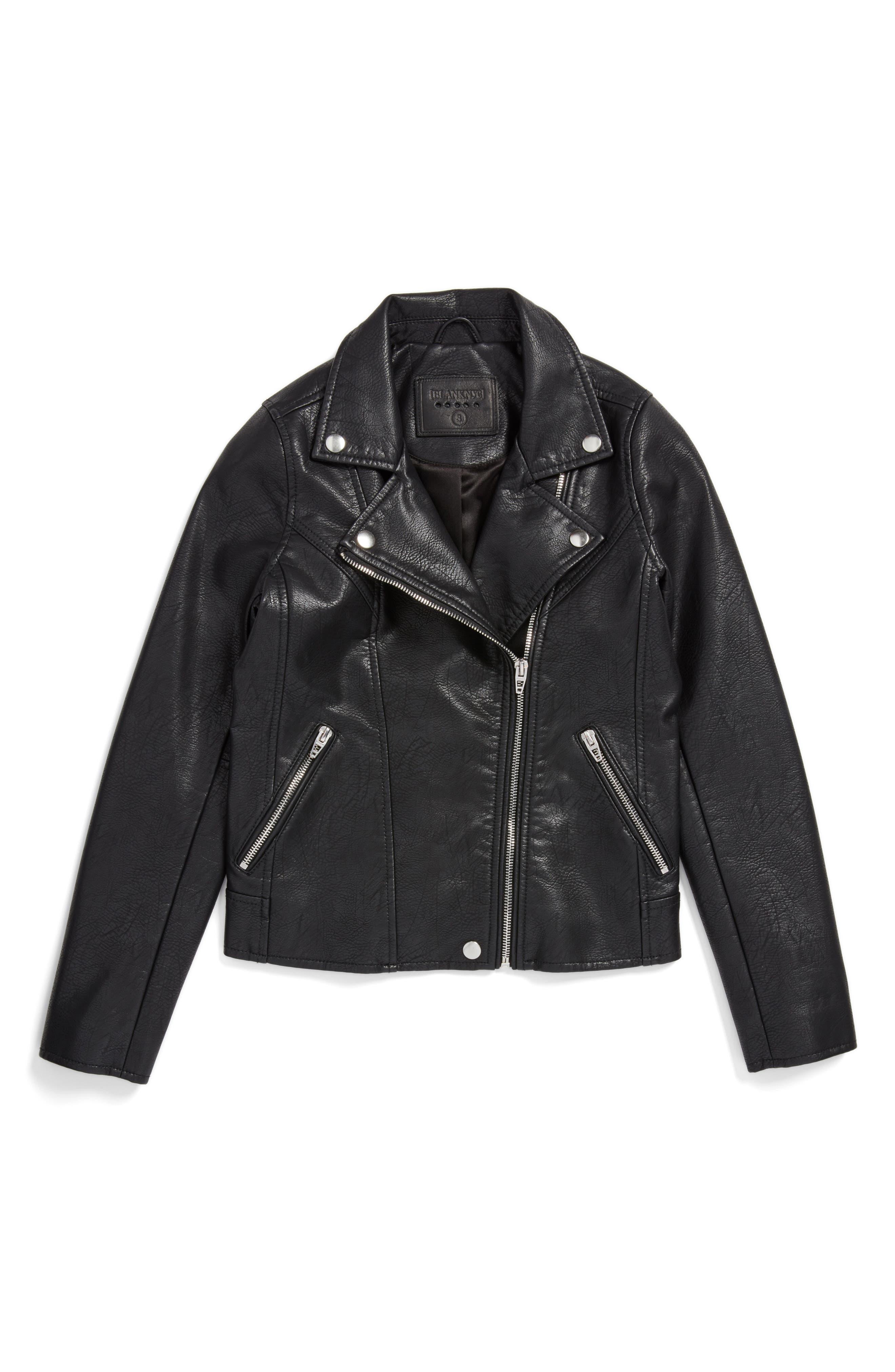 BLANKNYC Faux Leather Moto Jacket (Big Girls)