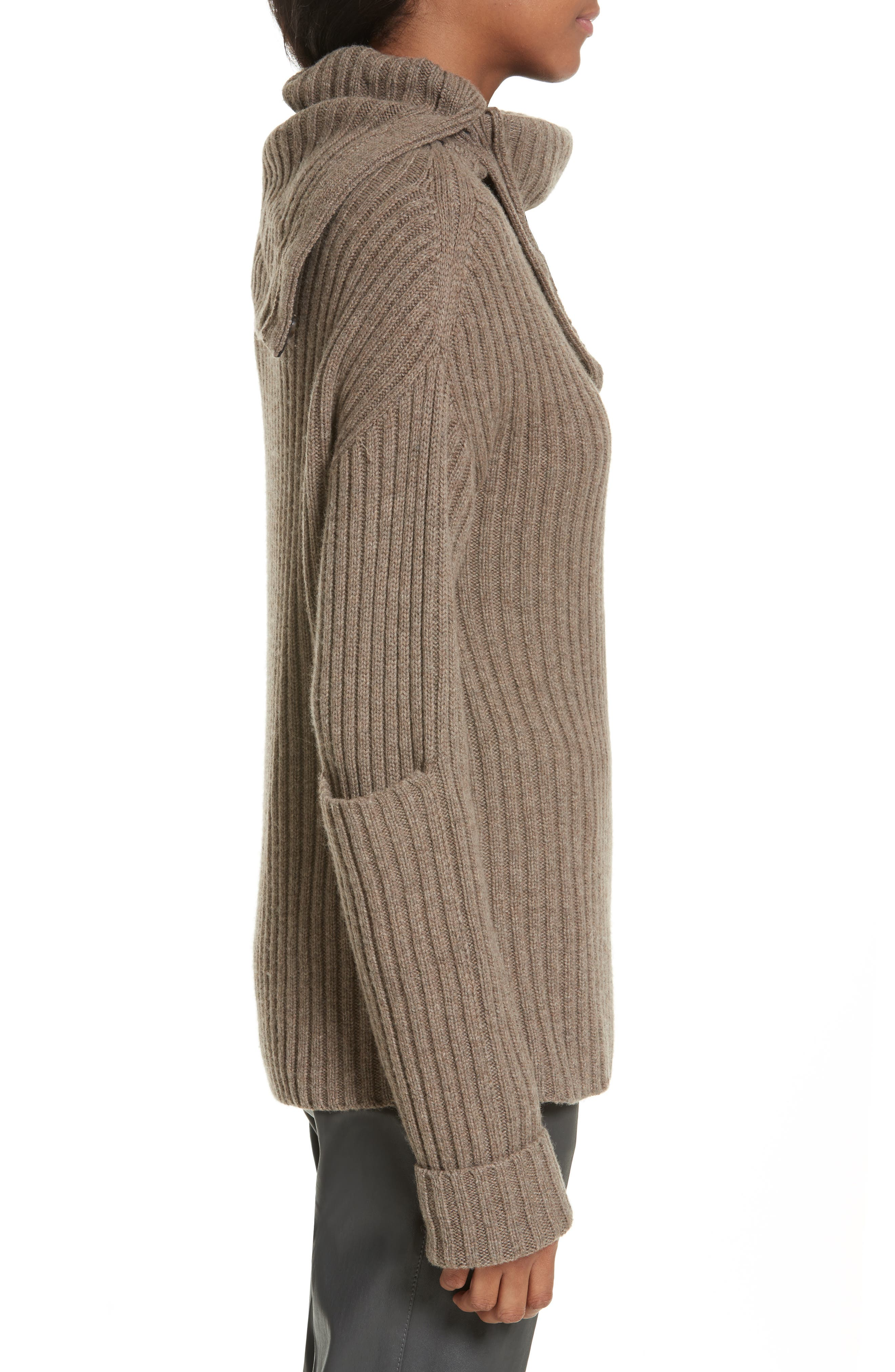 High-Neck Military Sweater,                             Alternate thumbnail 3, color,                             Taupe