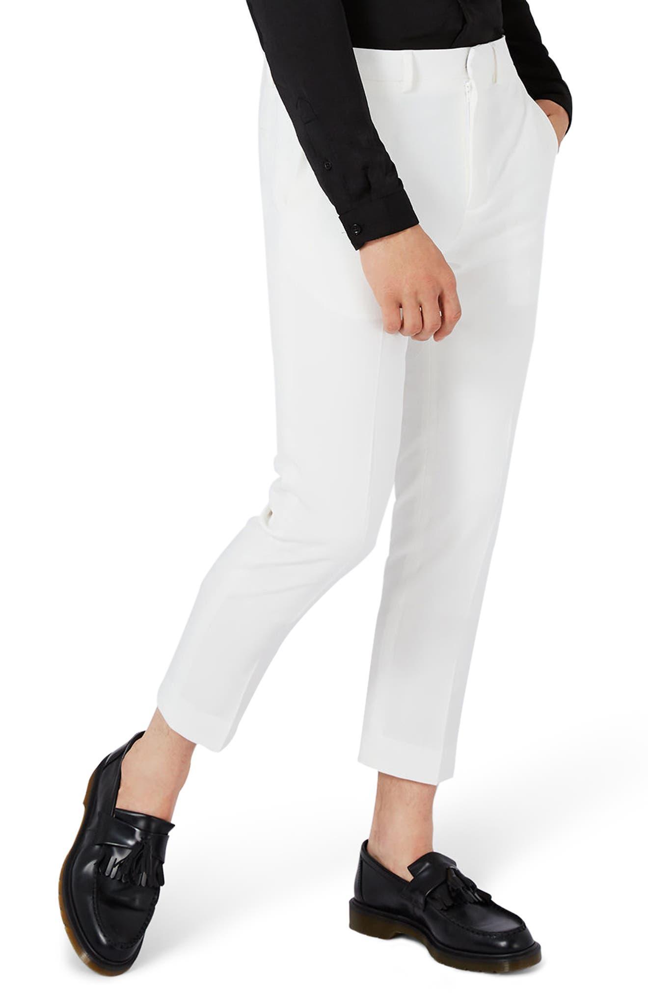 Topman Skinny Fit Crop Tuxedo Trousers