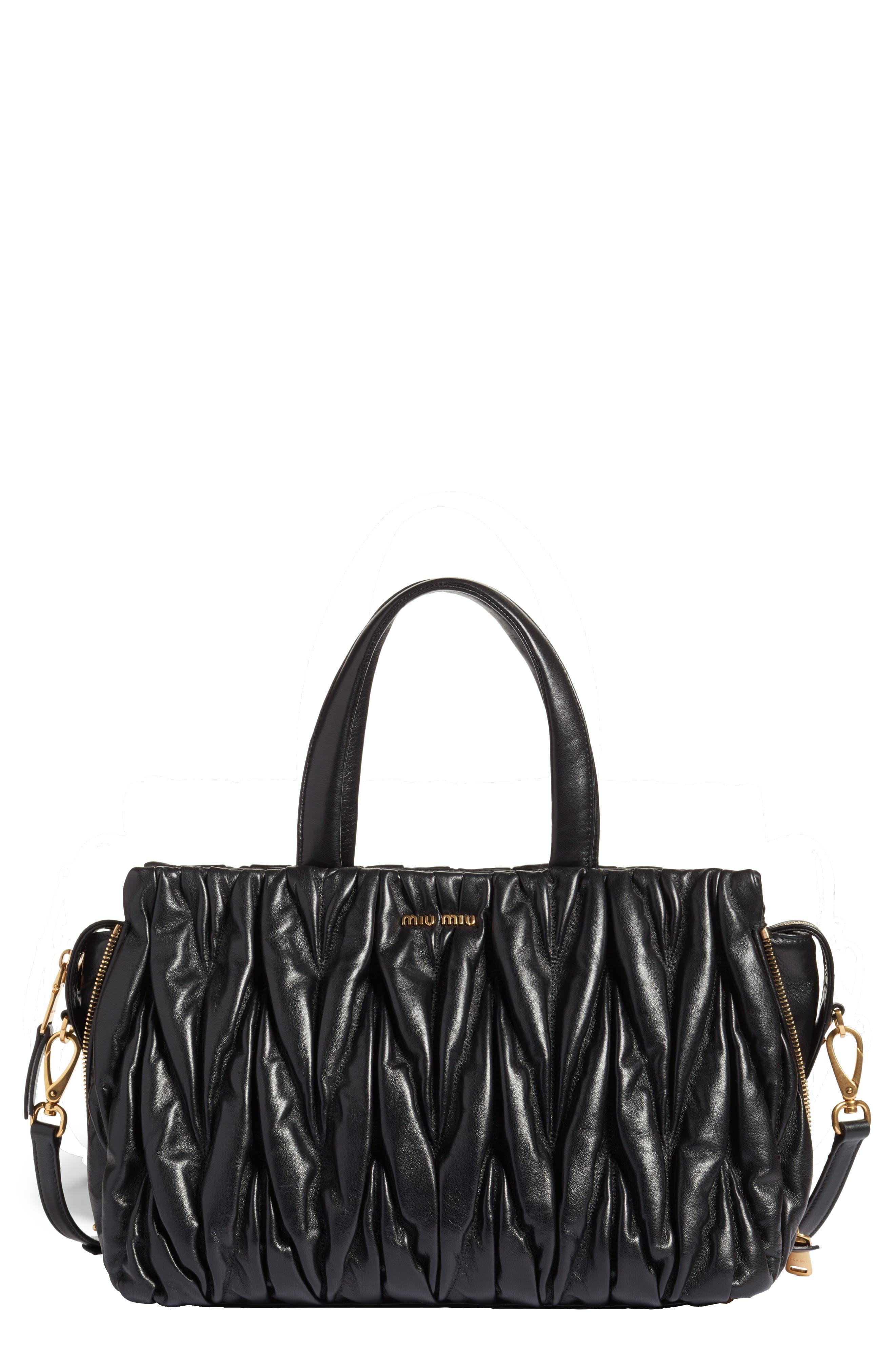 Alternate Image 1 Selected - Miu Miu Matelassé Leather Top Handle Satchel