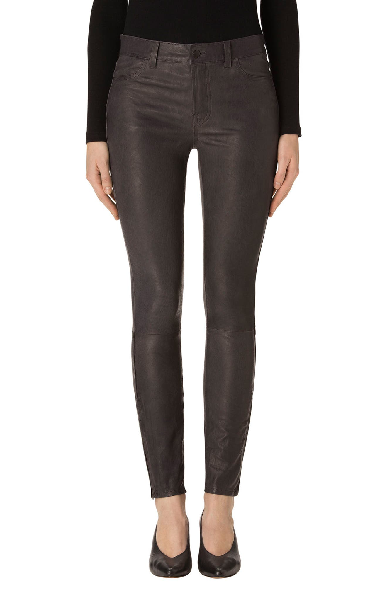 '8001' Lambskin Leather Pants,                         Main,                         color, Dark Platinum