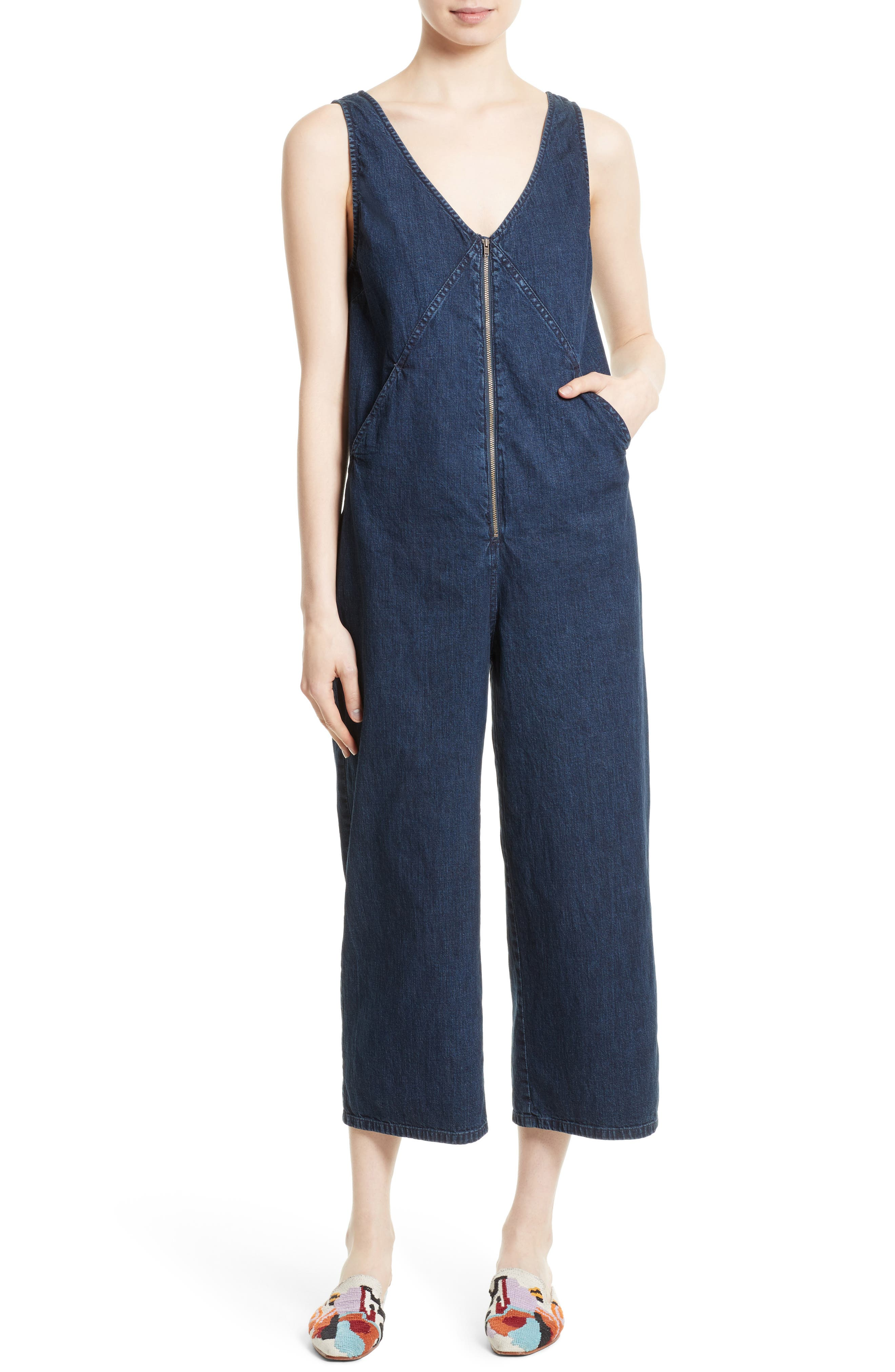 RACHEL COMEY Bender Denim Jumpsuit