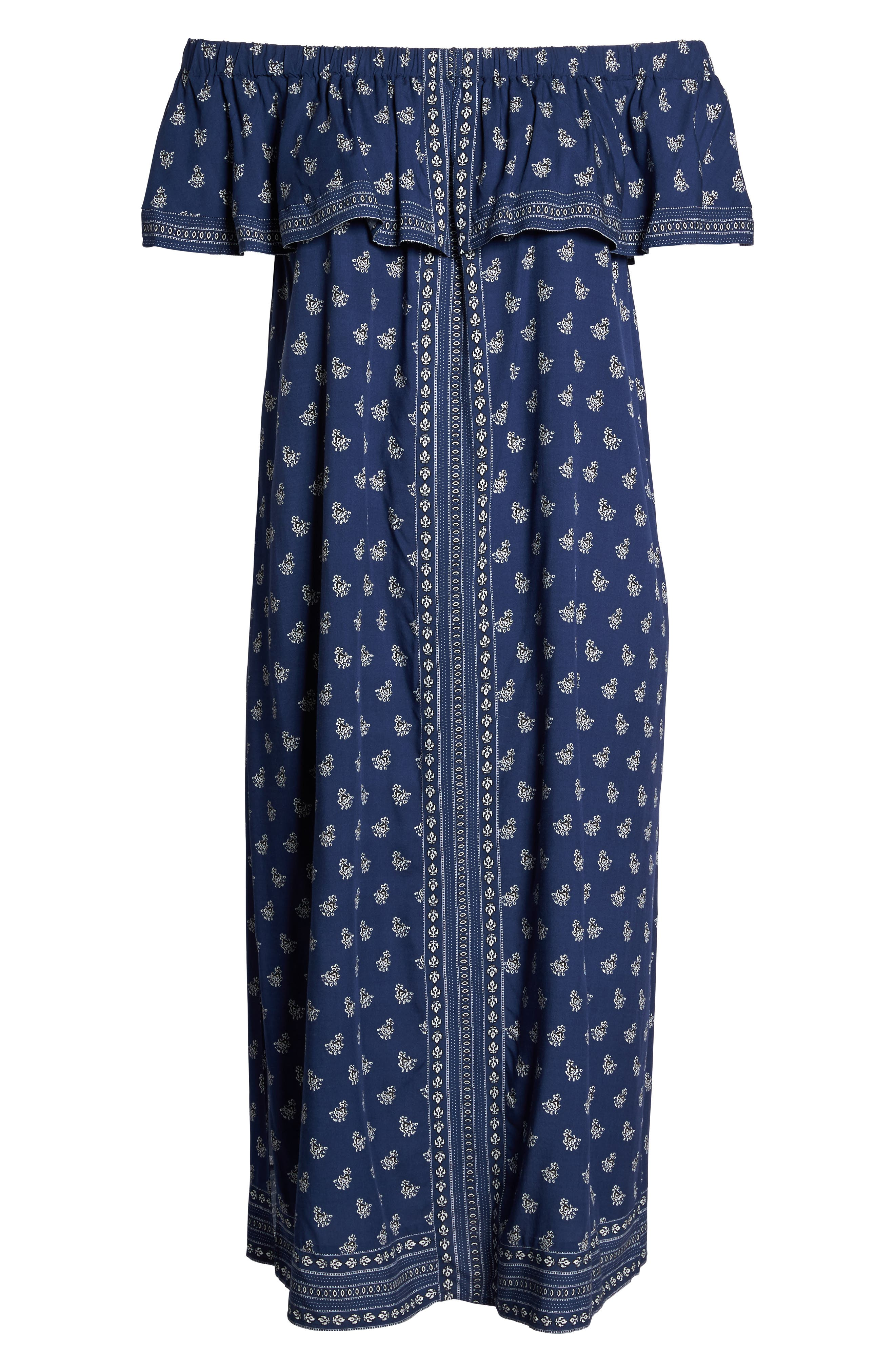 Alternate Image 6  - Two by Vince Camuto Paisley Off the Shoulder Maxi Dress (Plus Size)