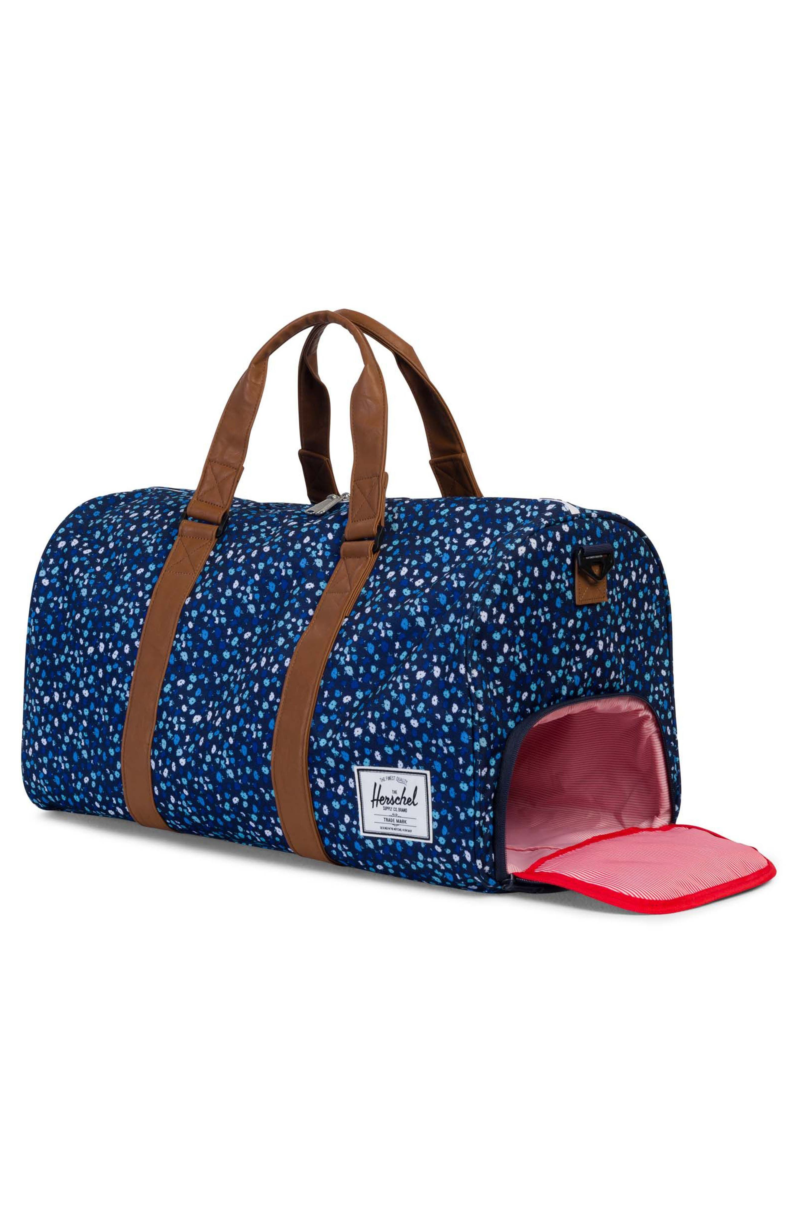 Novel Floral Pattern Duffel Bag,                             Alternate thumbnail 2, color,                             Peacoat Mini Floral