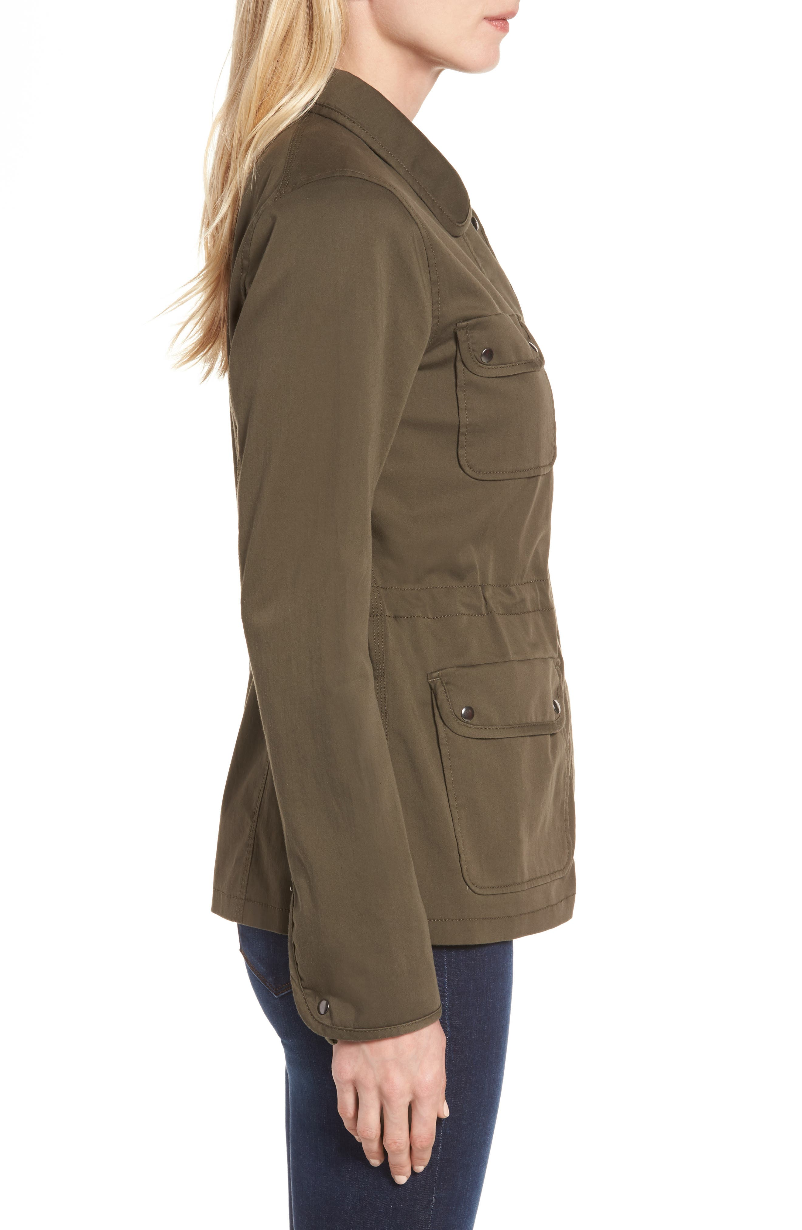 Sateen Utility Jacket,                             Alternate thumbnail 3, color,                             Olive Grove