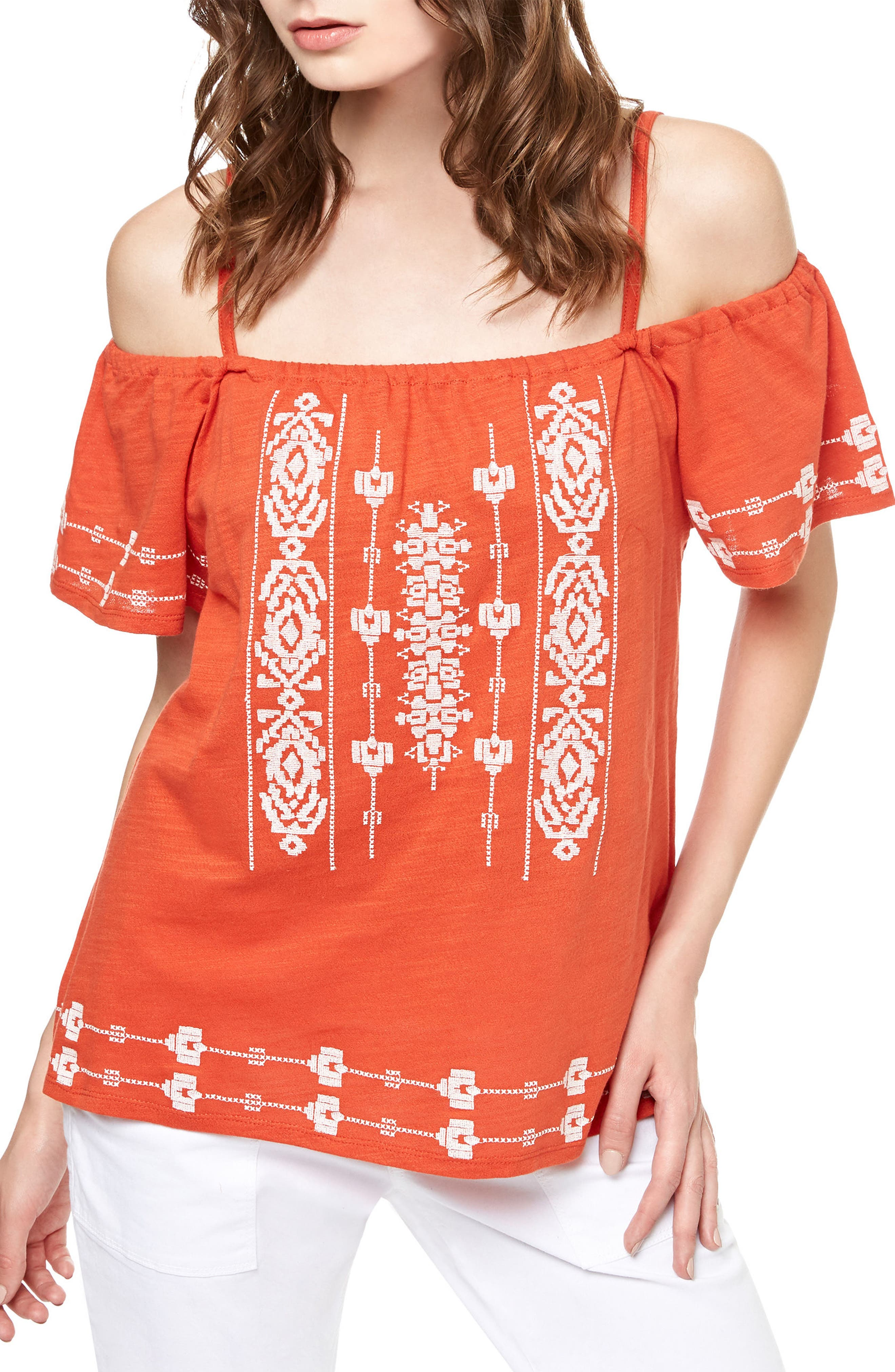 Sanctuary Magnolia Embroidered Off the Shoulder Top