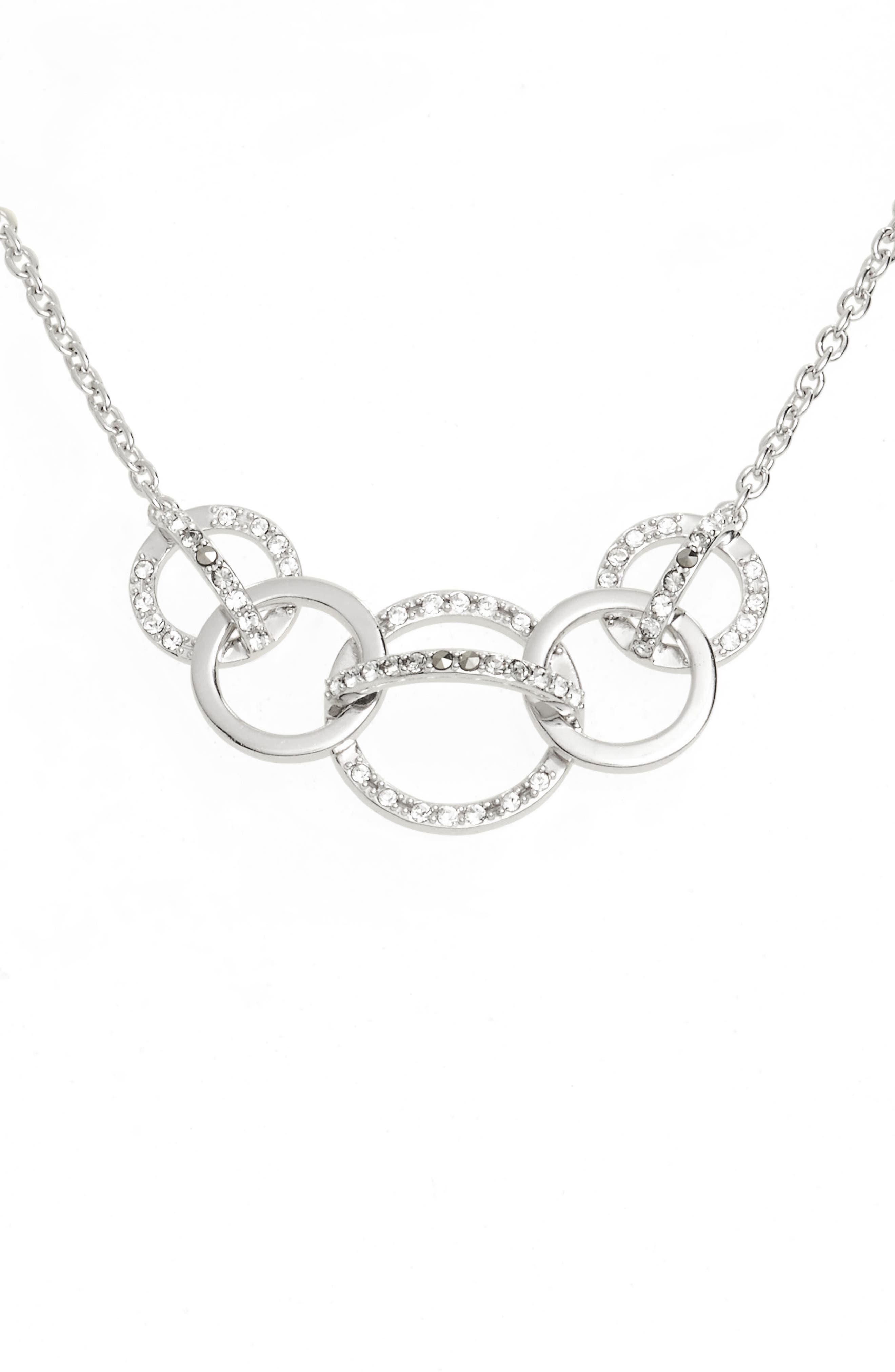Silver Sparkle Crystal Collar Necklace,                             Main thumbnail 1, color,                             Black Diamond/ Marcasite