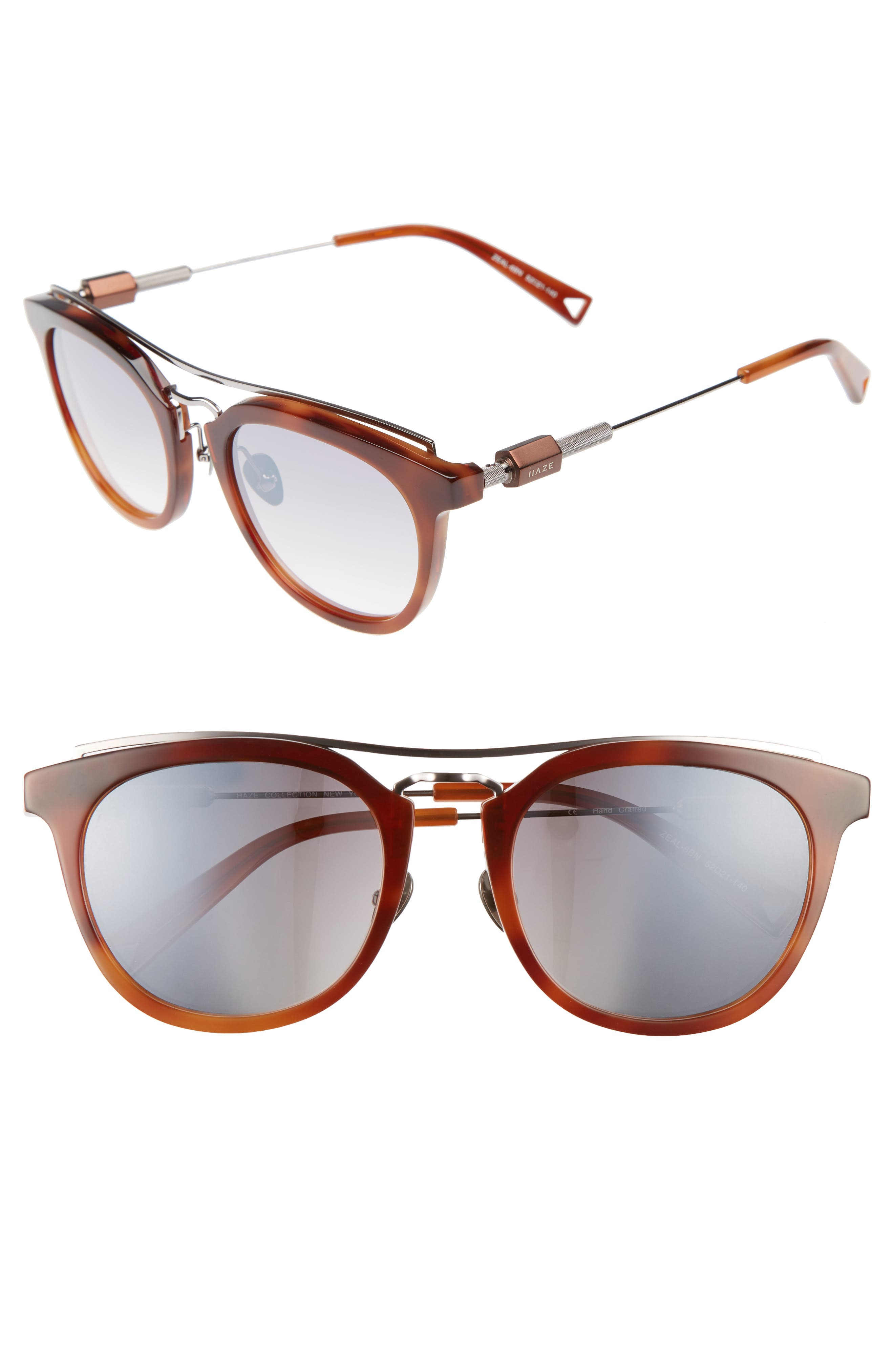 Zeal 52mm Aviator Sunglasses,                             Main thumbnail 1, color,                             Amber