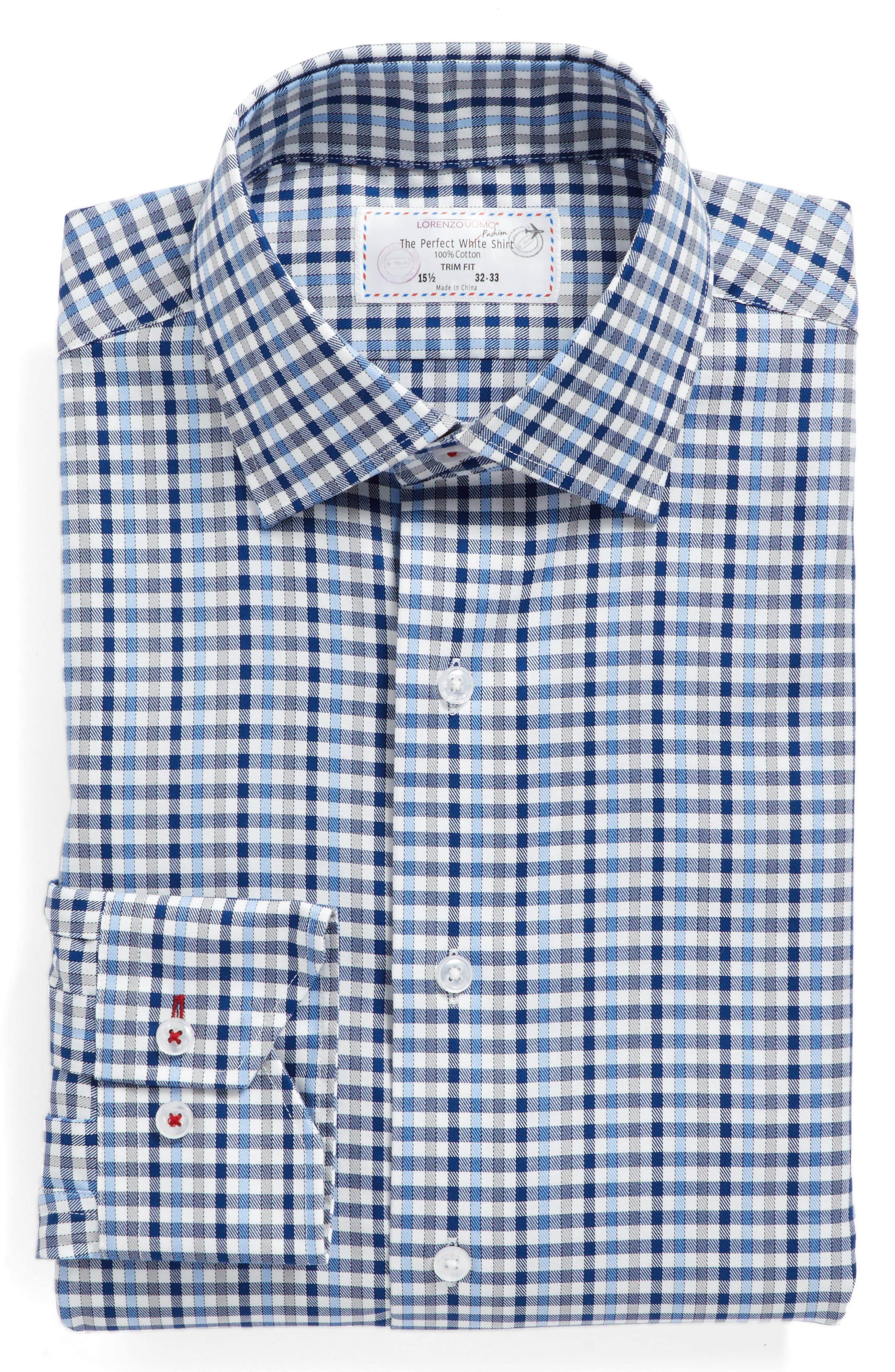 Trim Fit Check Dress Shirt,                             Alternate thumbnail 4, color,                             Dark Blue