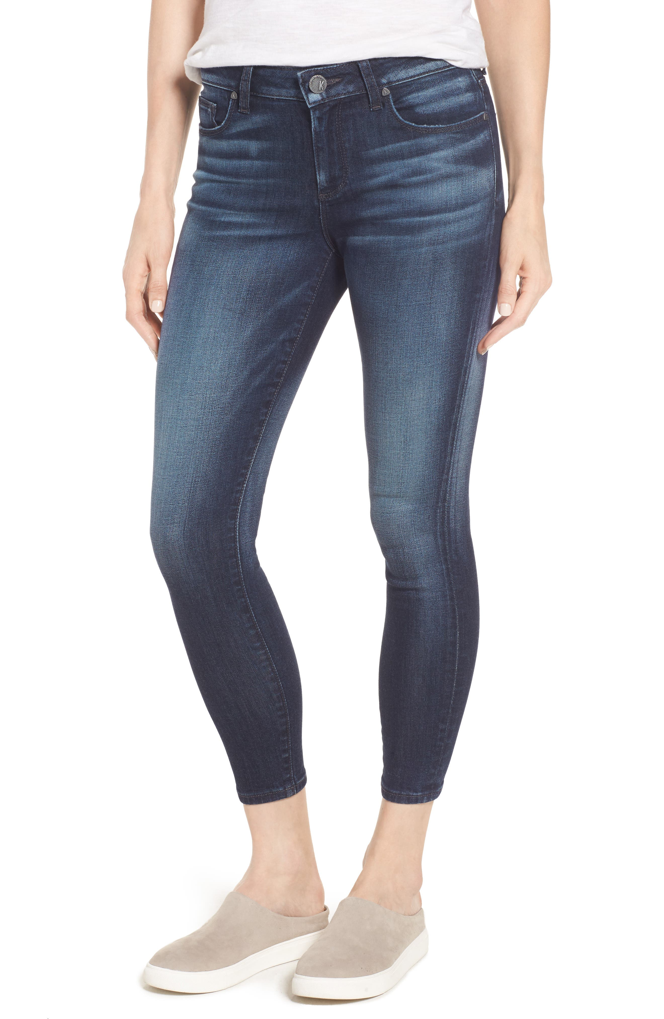 Alternate Image 1 Selected - KUT from The Kloth Diana Curvy Fit Crop Skinny Jeans (Invigorated)