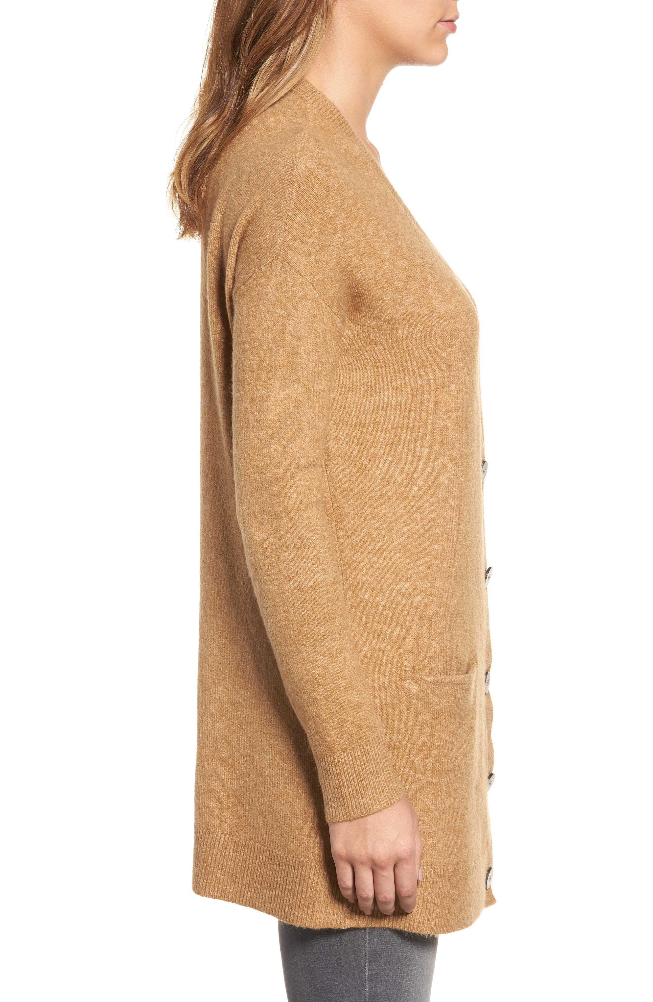 Alternate Image 3  - Halogen® Long Sleeve V-Neck Cardigan (Regular & Petite)
