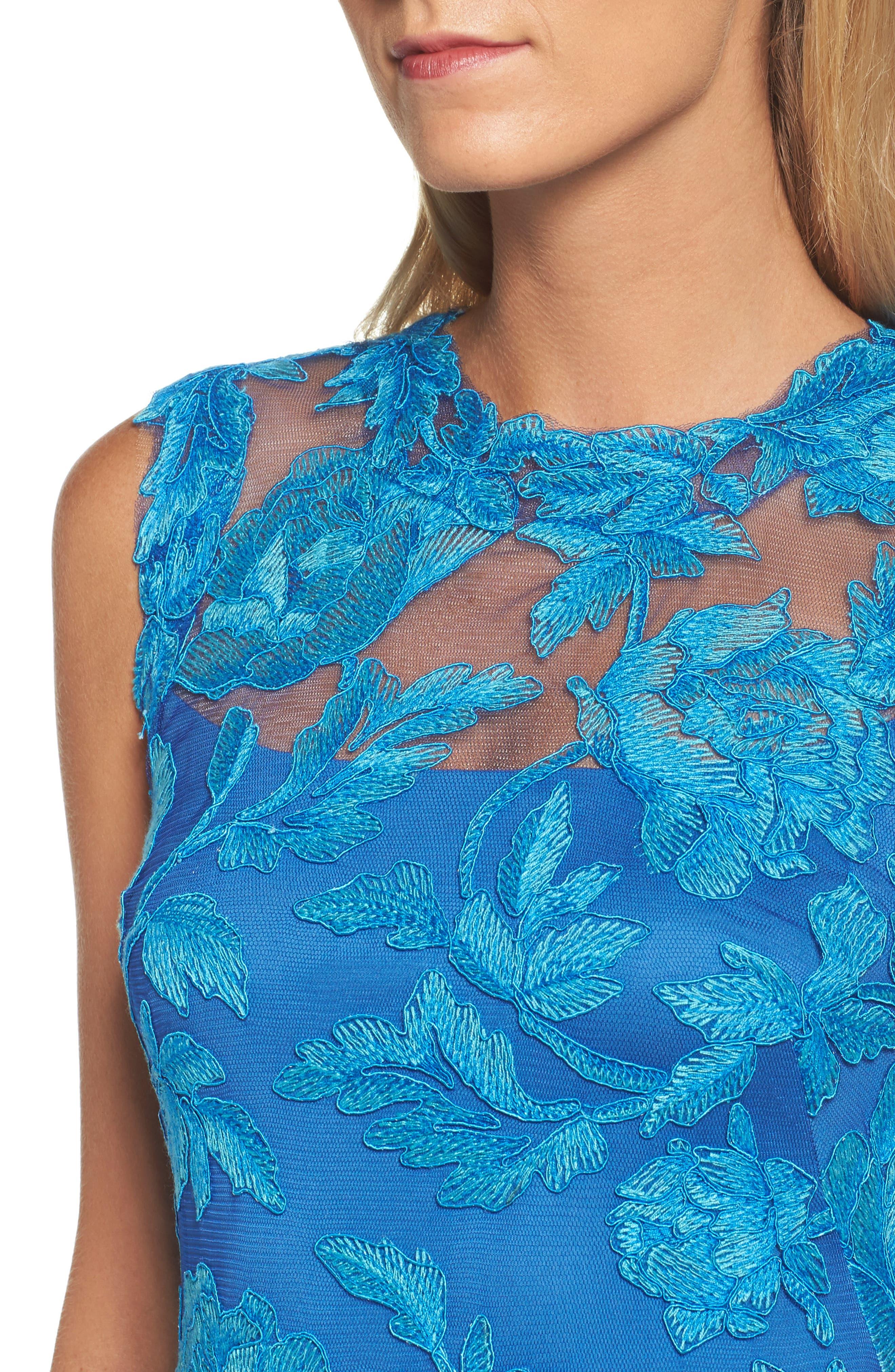 Noelle Floral Fit & Flare Dress,                             Alternate thumbnail 4, color,                             Blue Topaz