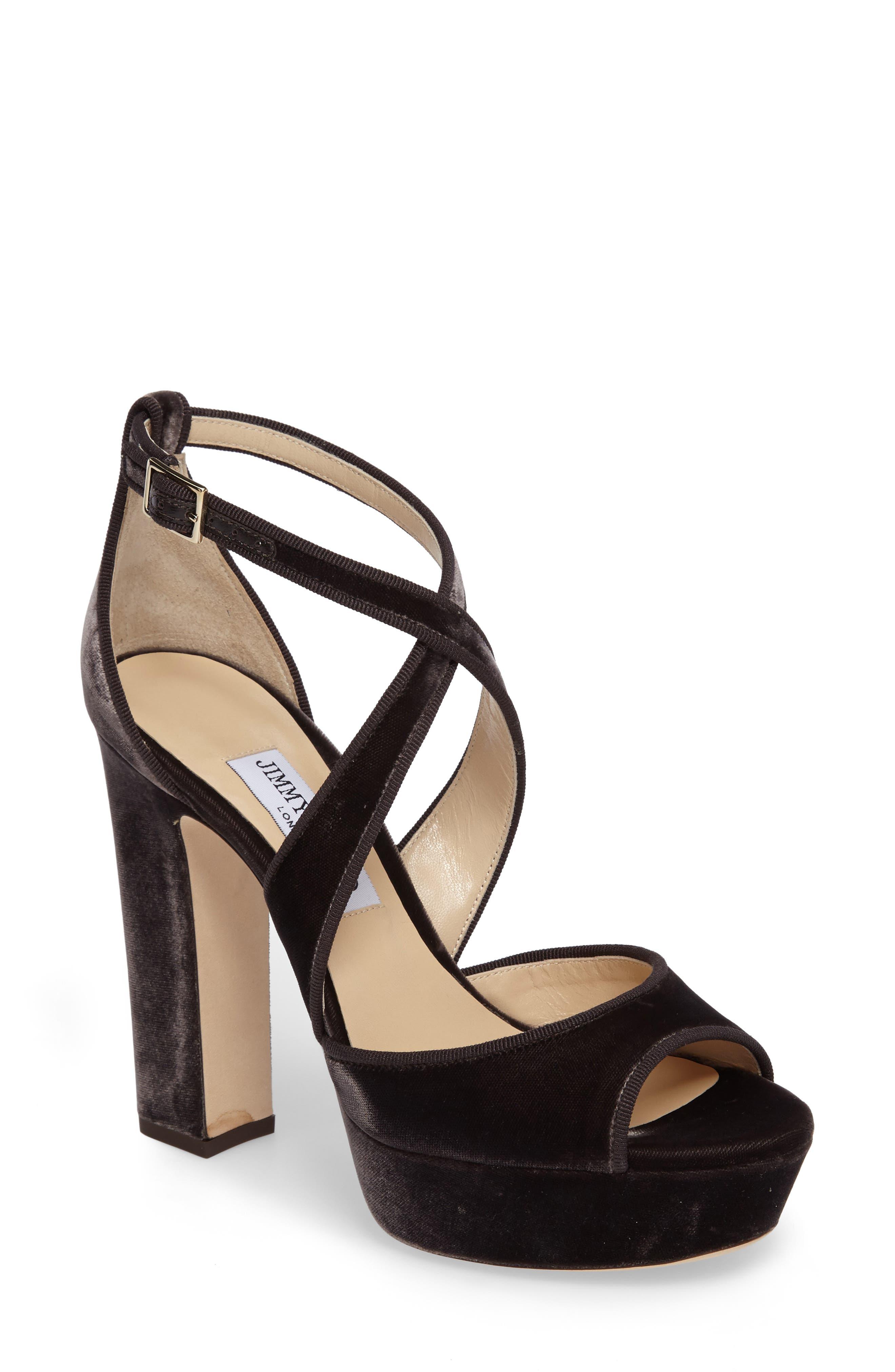April Platform Sandal,                             Main thumbnail 1, color,                             Dark Mink Velvet