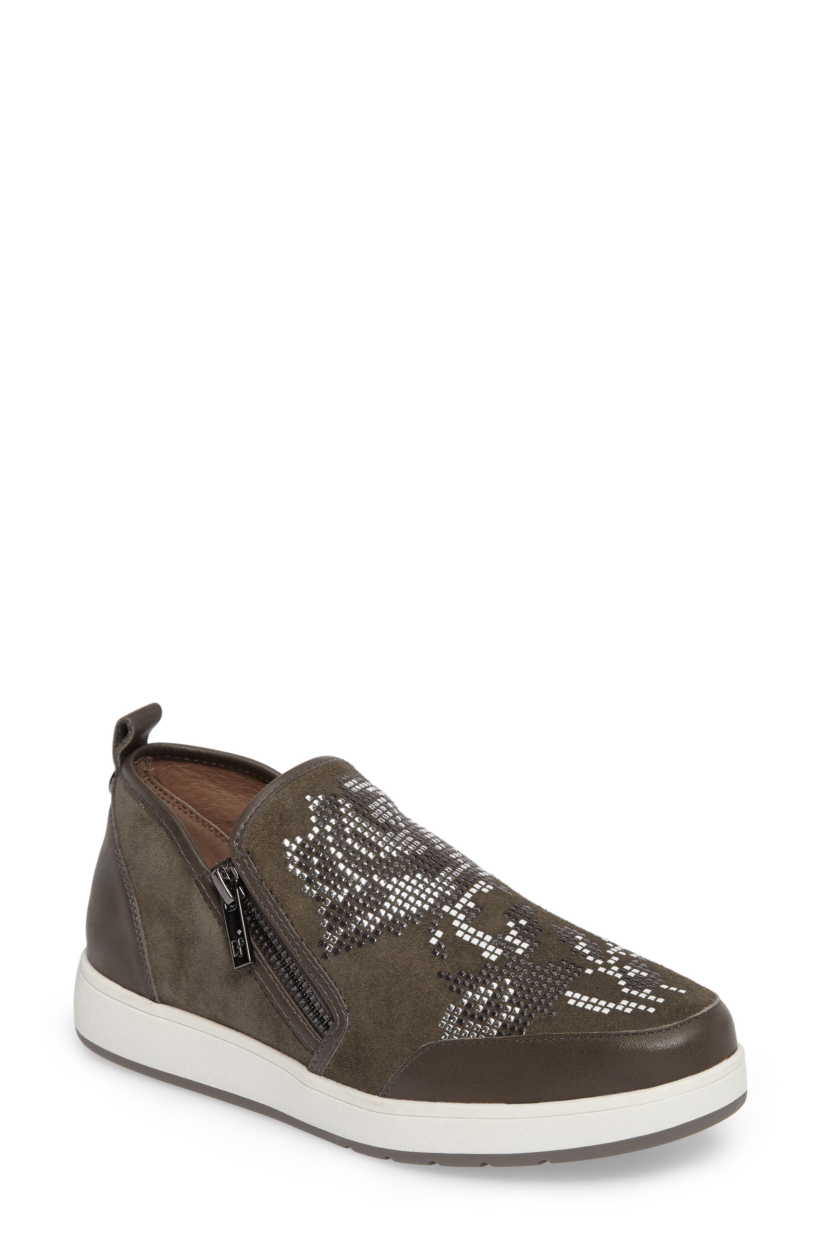 Donald J Pliner Mylasp Embellished Sneaker,                         Main,                         color, Carbon Leather