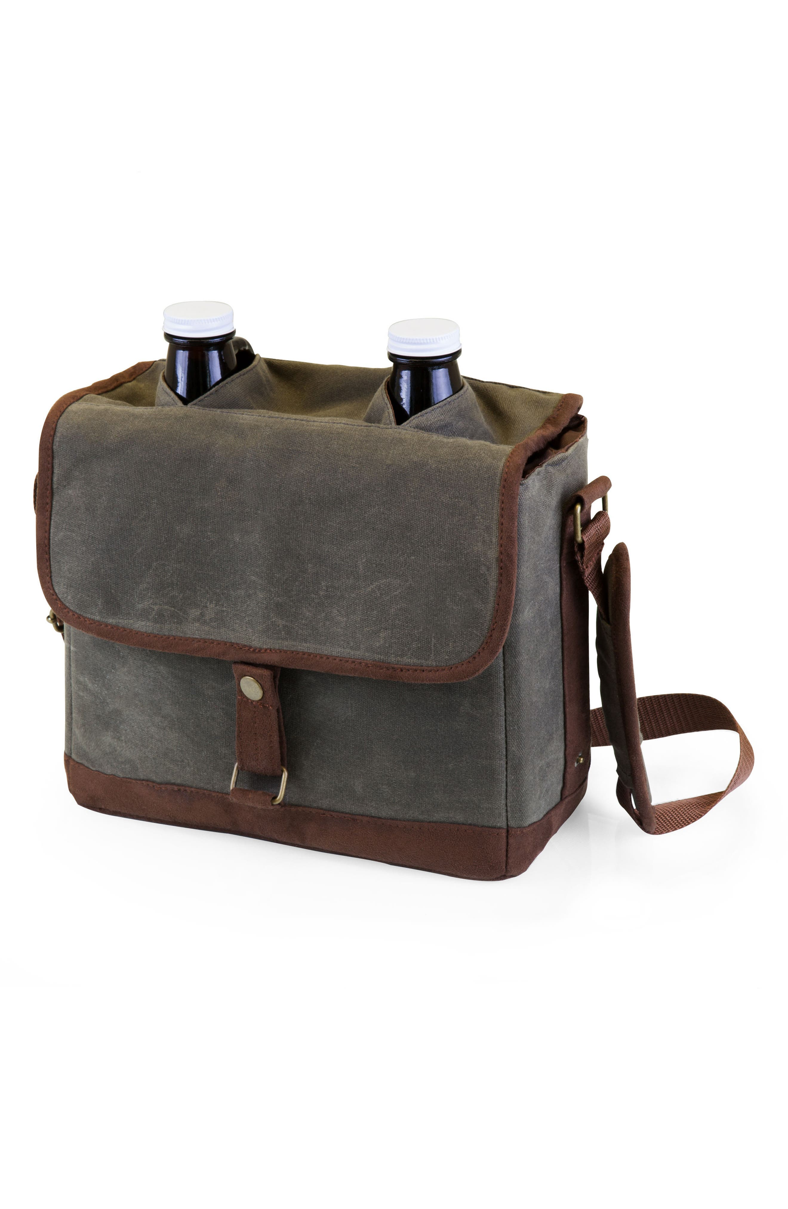 Insulated Double Growler Tote,                             Alternate thumbnail 4, color,                             Green/ Brown