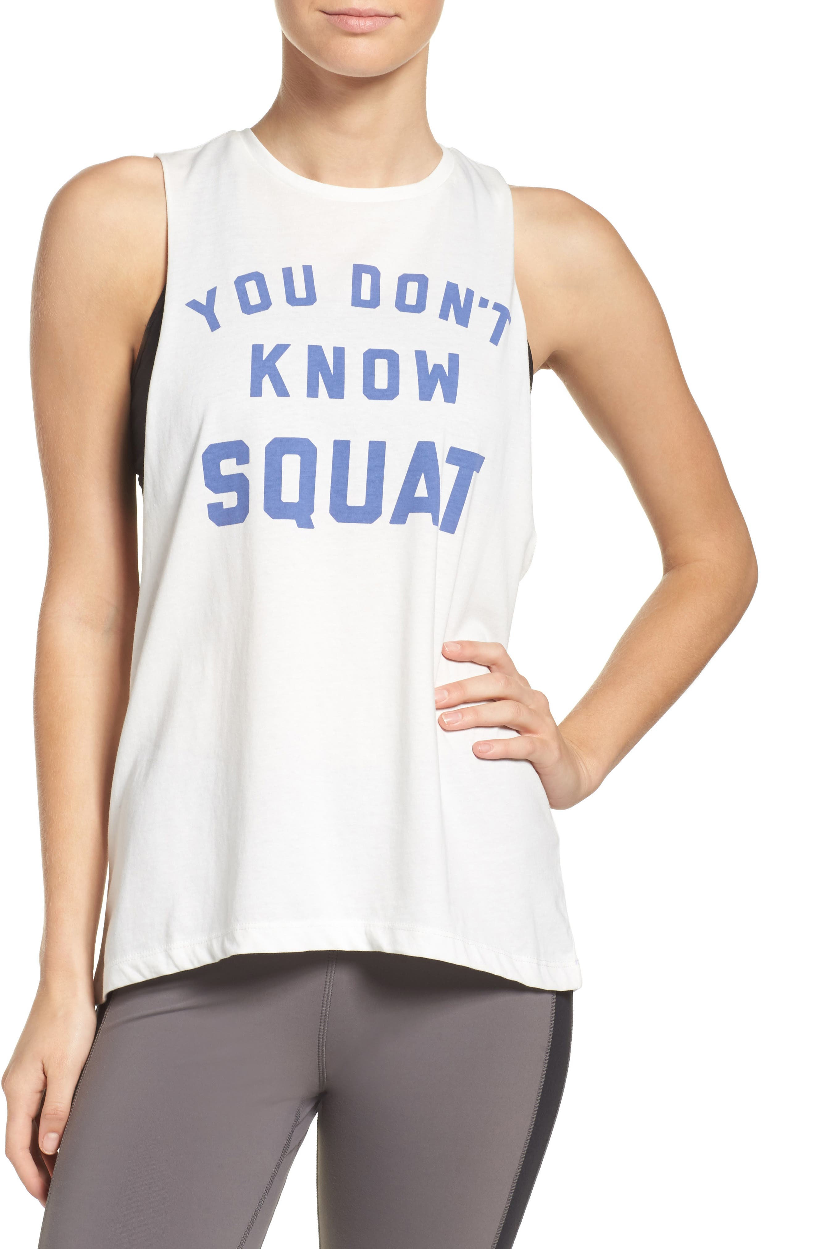 You Don't Know Squat Muscle Tank,                             Main thumbnail 1, color,                             Chalk
