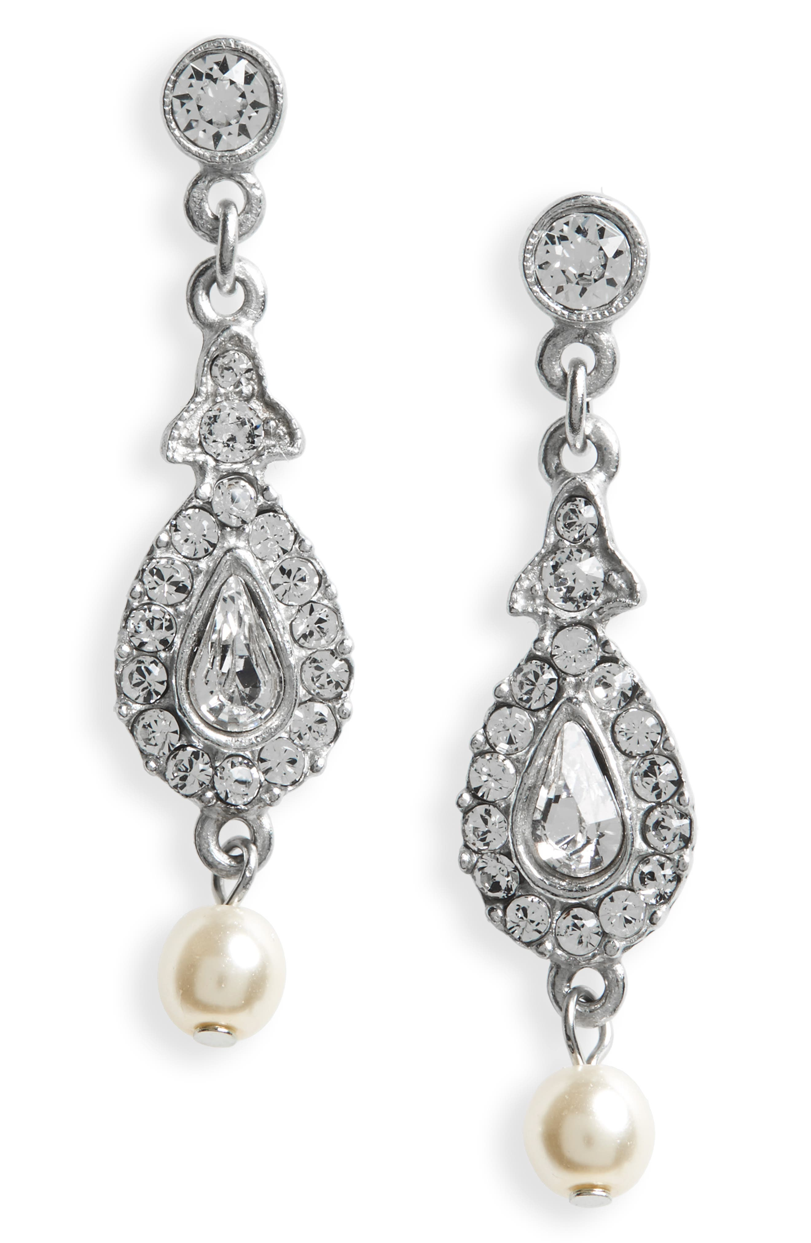 BEN-AMUN Imitation Pearl & Crystal Drop Earrings