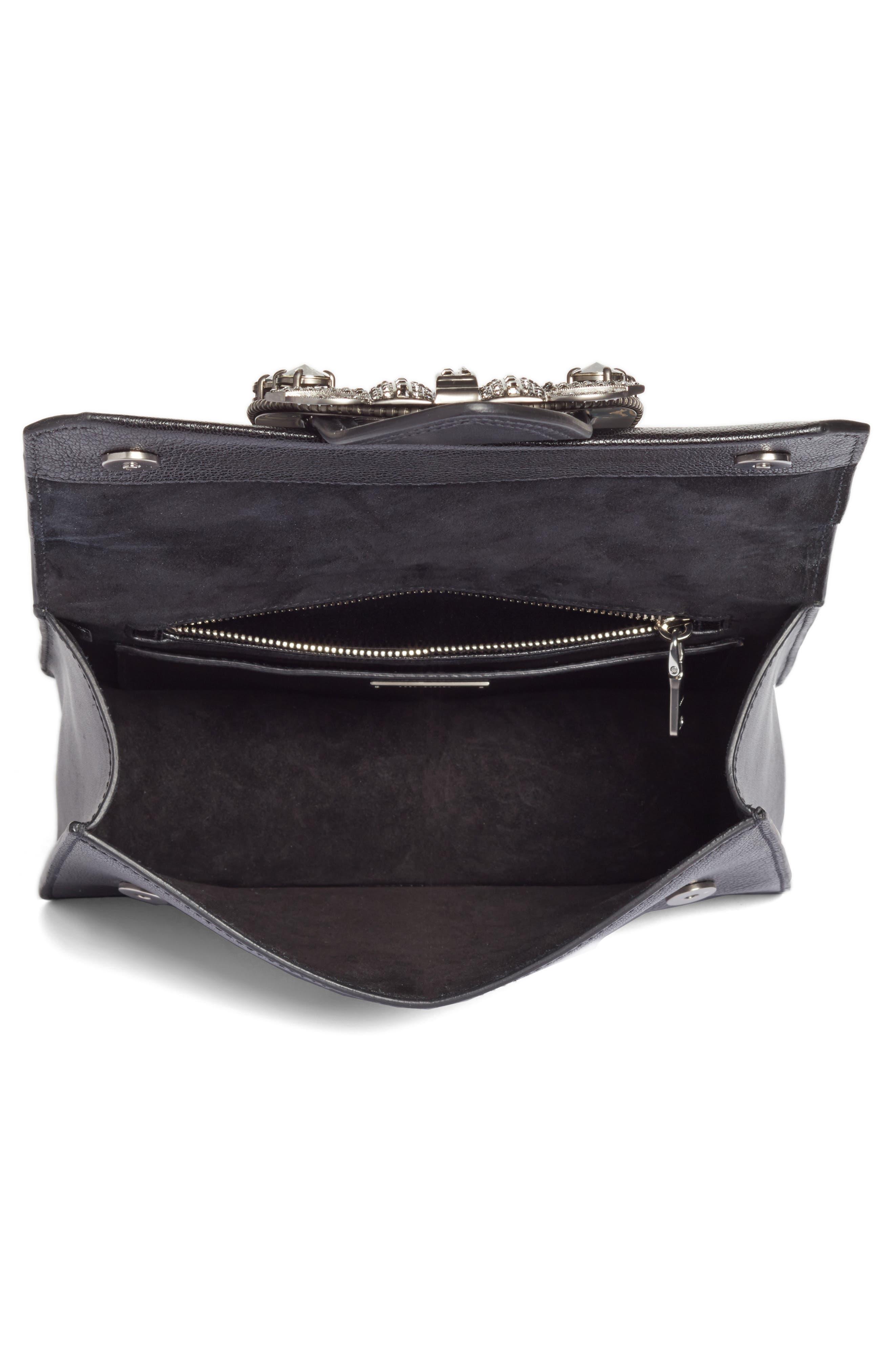 Madras Crystal Embellished Leather Shoulder Bag,                             Alternate thumbnail 4, color,                             Black