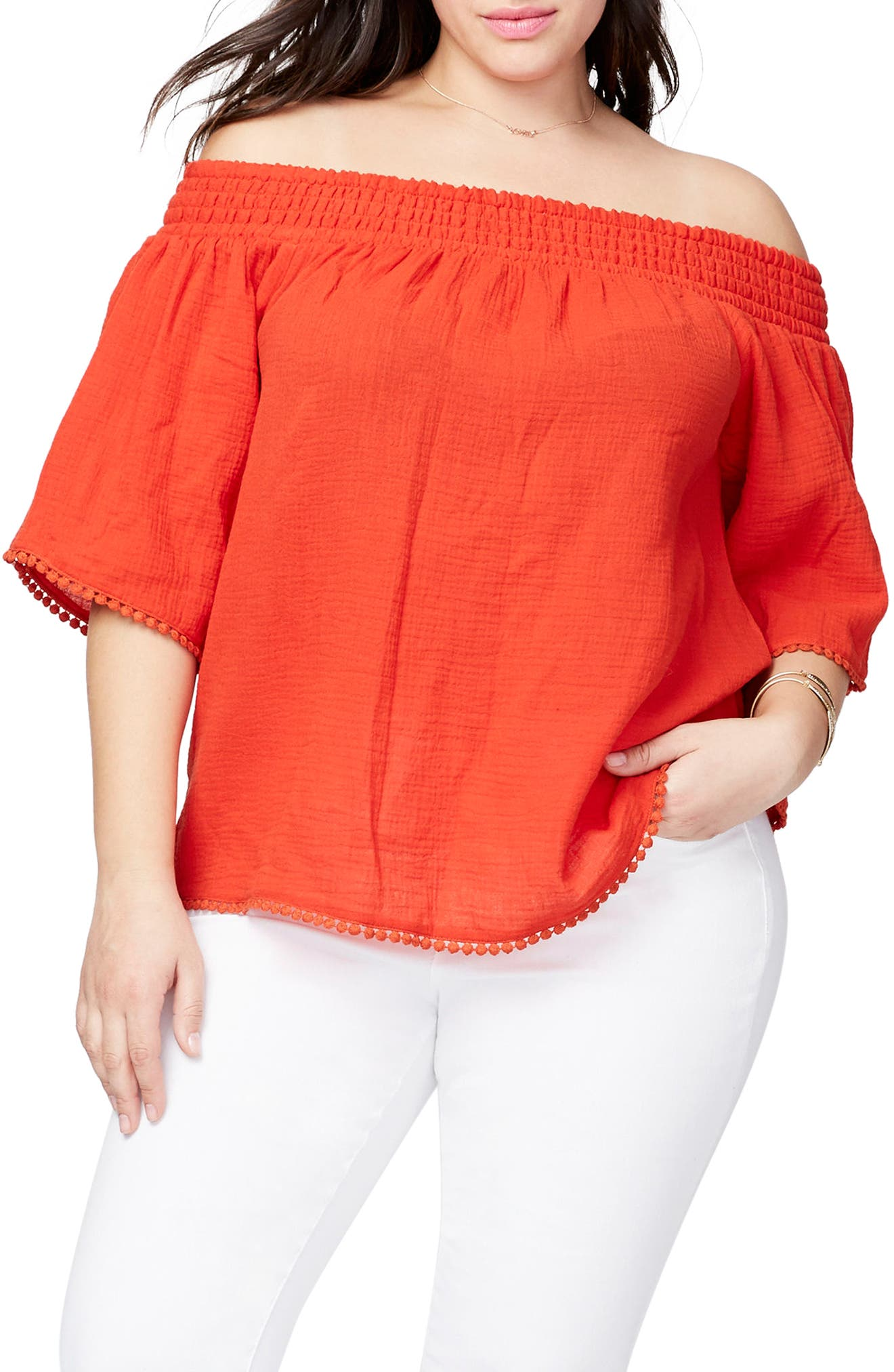 Smocked Off the Shoulder Top,                             Main thumbnail 1, color,                             Lava