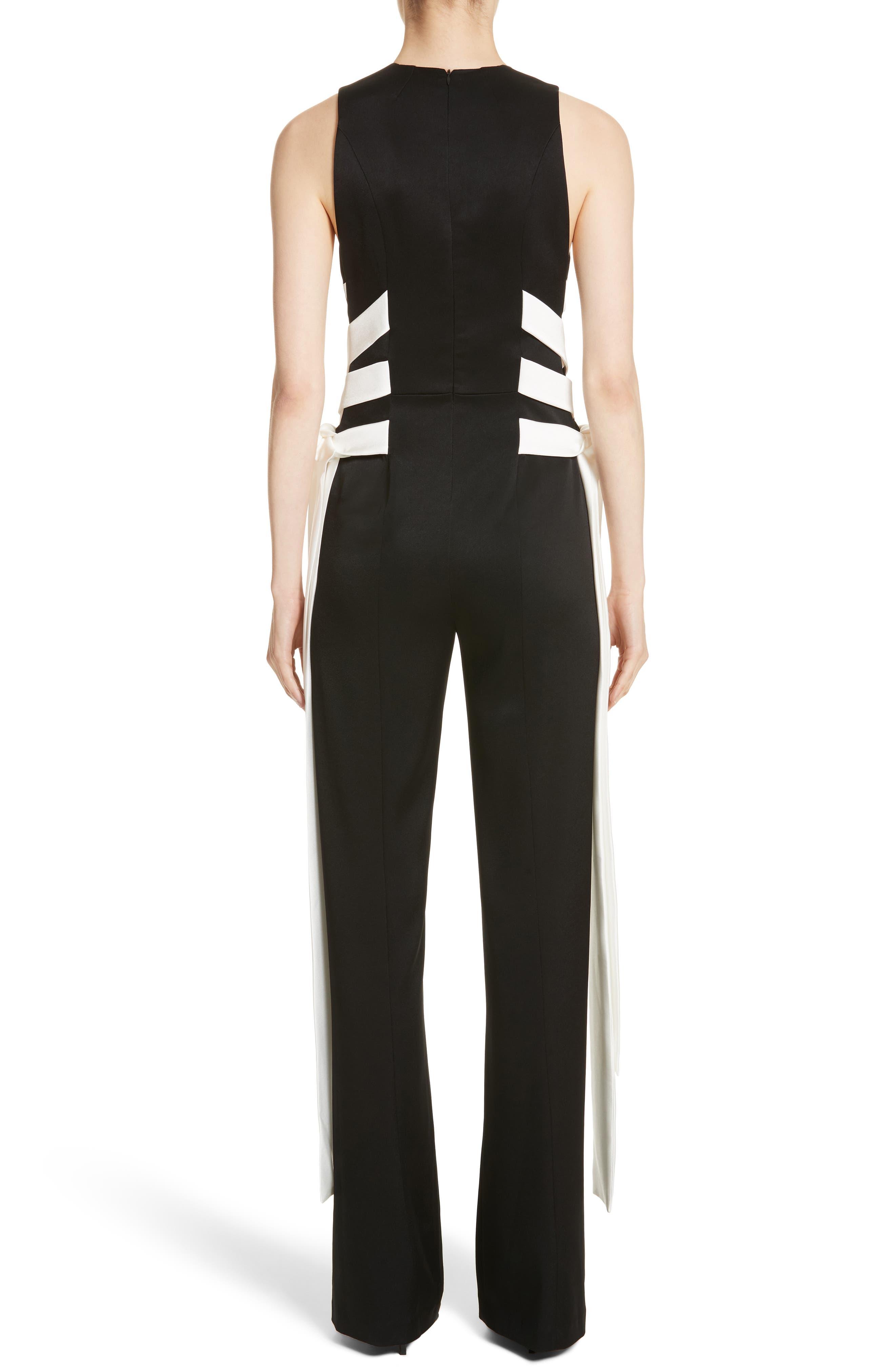 Lace Up Satin Crepe Jumpsuit,                             Alternate thumbnail 2, color,                             Black W/ White Lacings