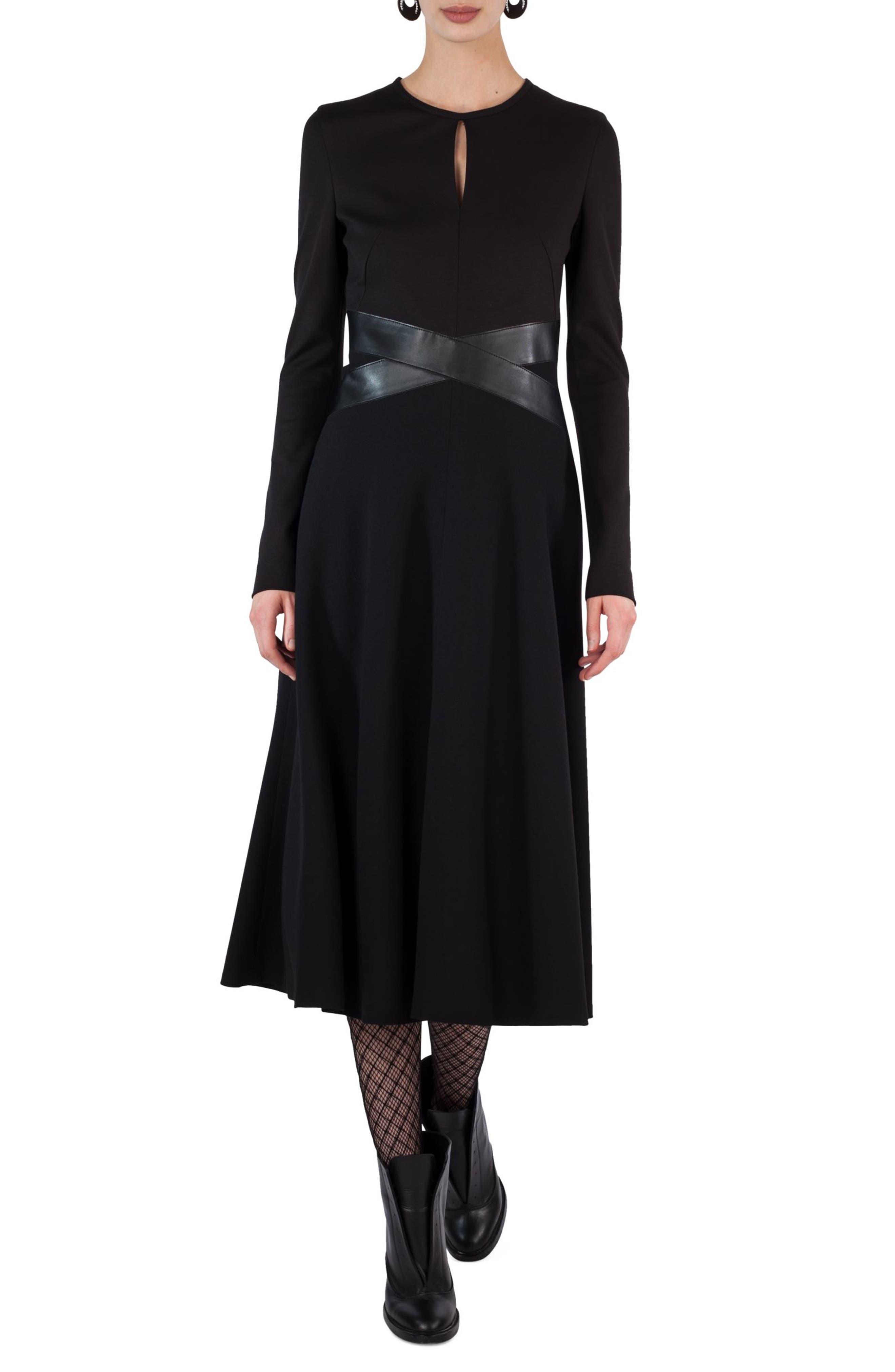 Leather Waist A-Line Dress,                         Main,                         color, Black