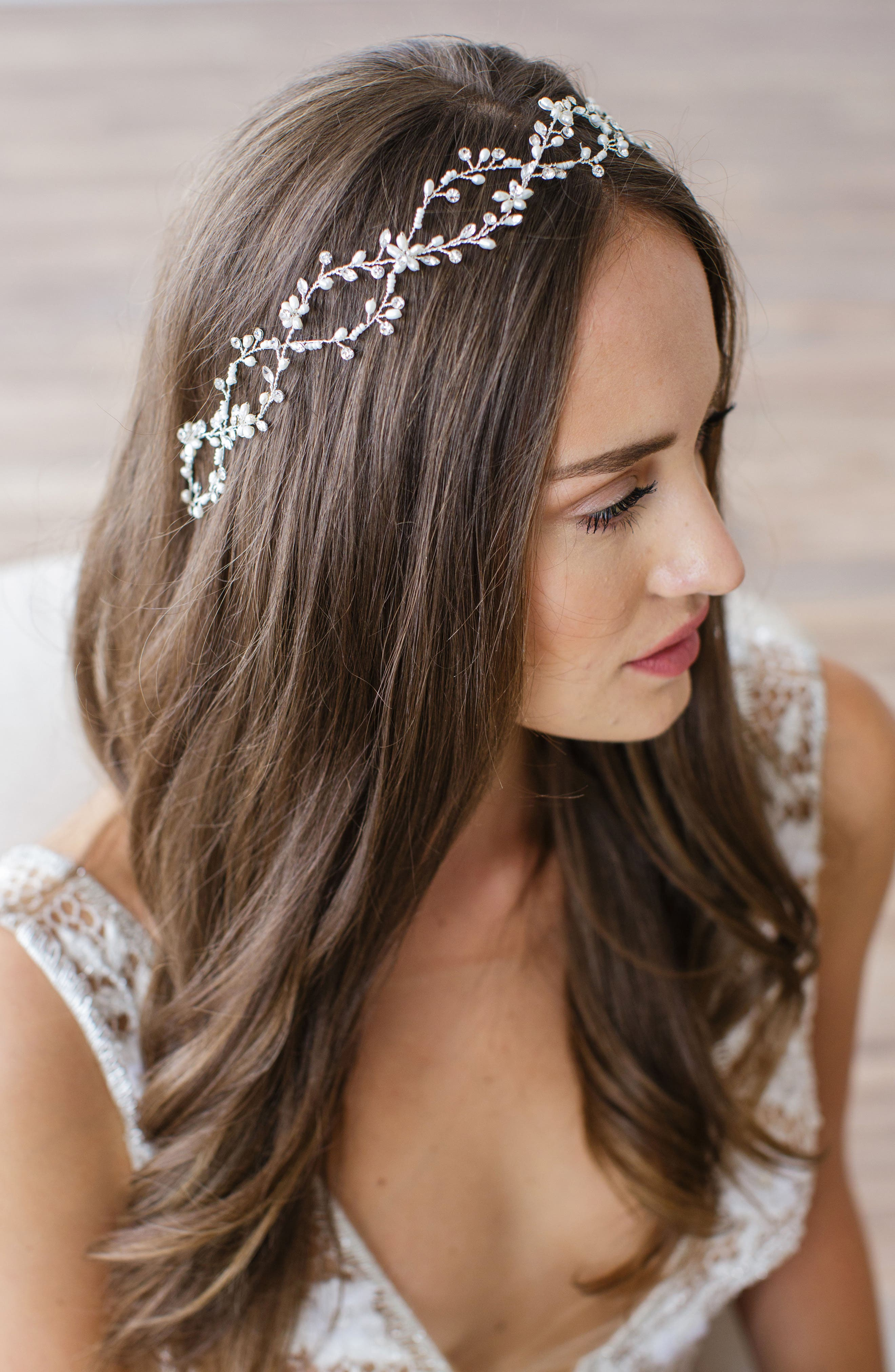 Alternate Image 1 Selected - Brides & Hairpins Octavia Pearl & Jeweled Halo & Sash