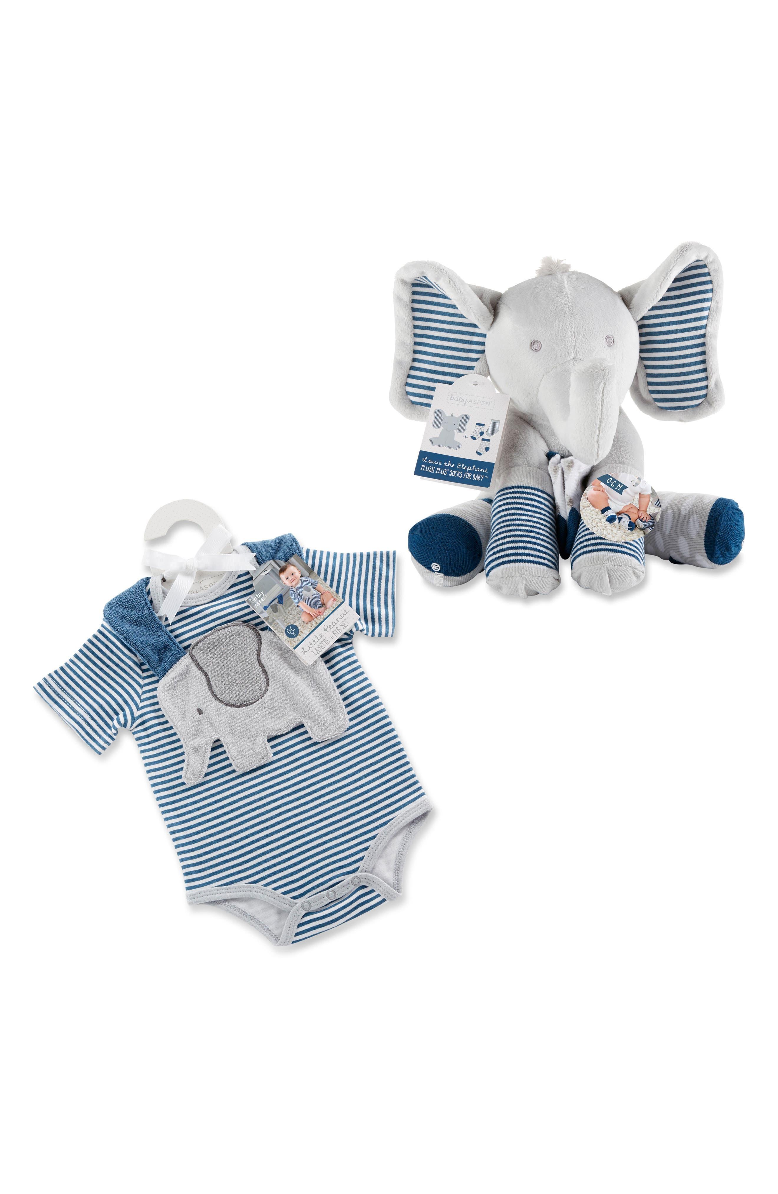 Baby Aspen Little Peanut Elephant Bodysuit, Bib, Socks & Stuffed Animal Set (Baby Boys)