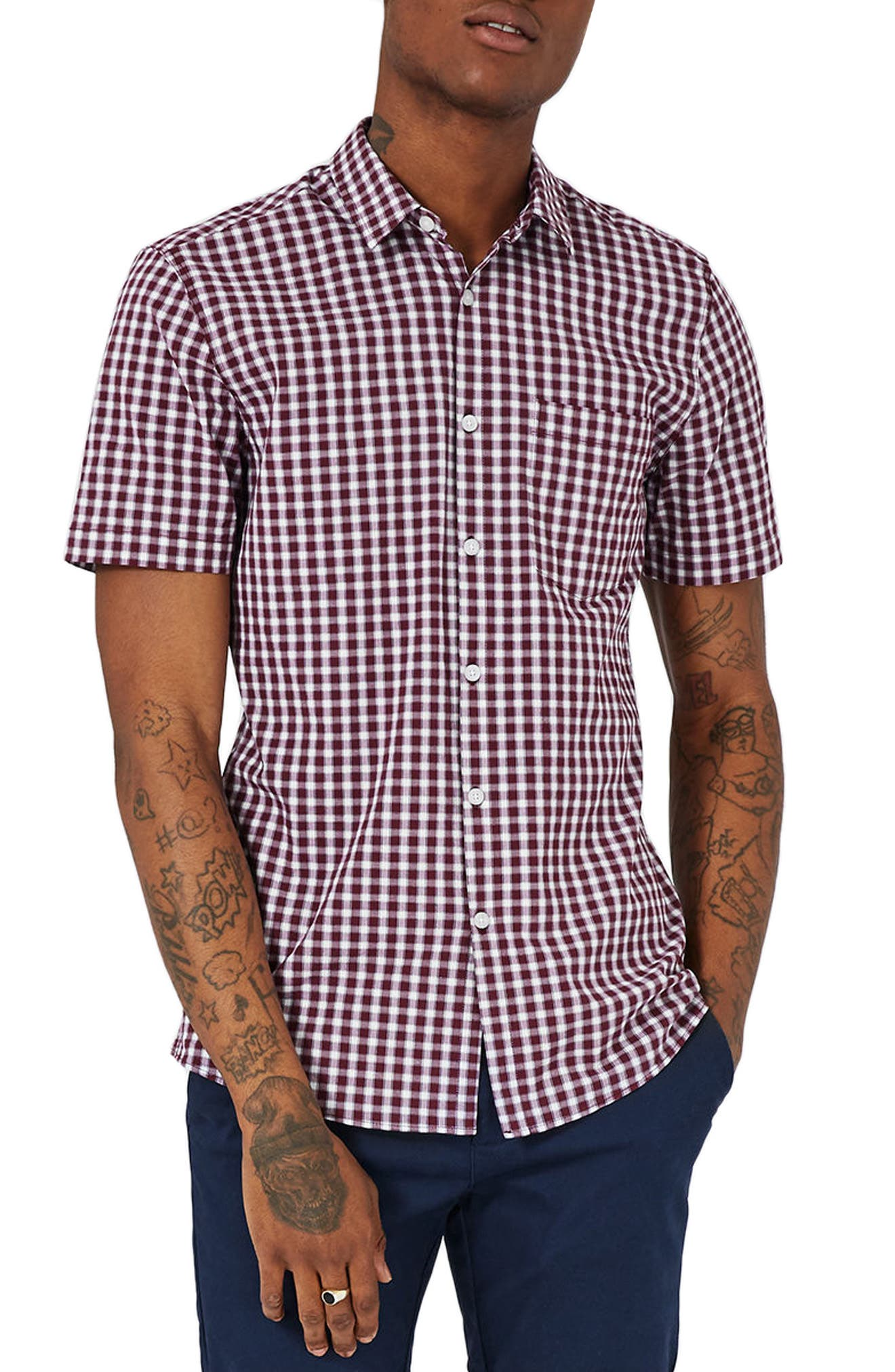 Topman Muscle Fit Check Shirt