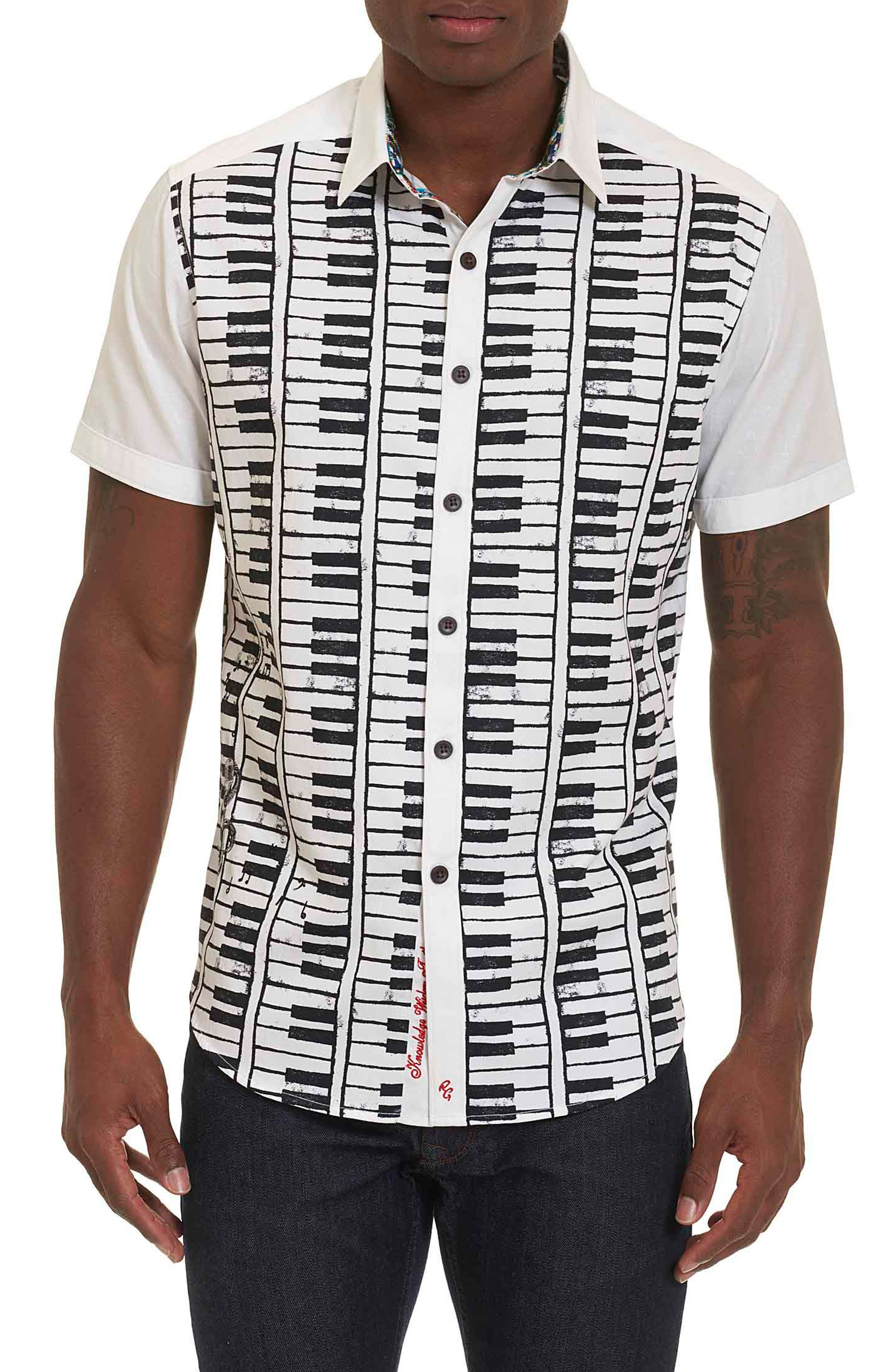 ROBERT GRAHAM Play the Keys Print Short Sleeve Sport Shirt