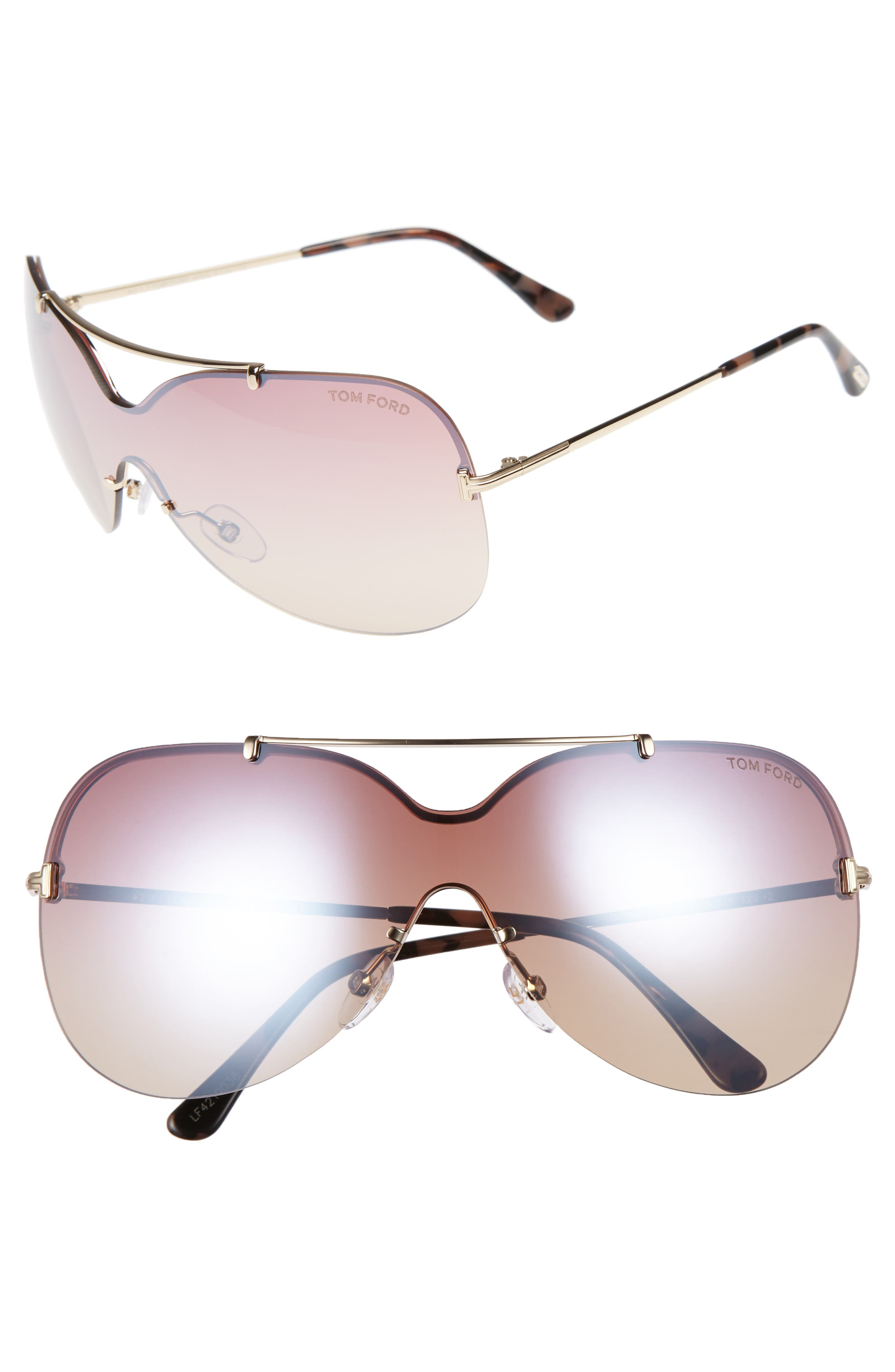 Alternate Image 1 Selected - Tom Ford Ondria Gradient Lens Shield Sunglasses