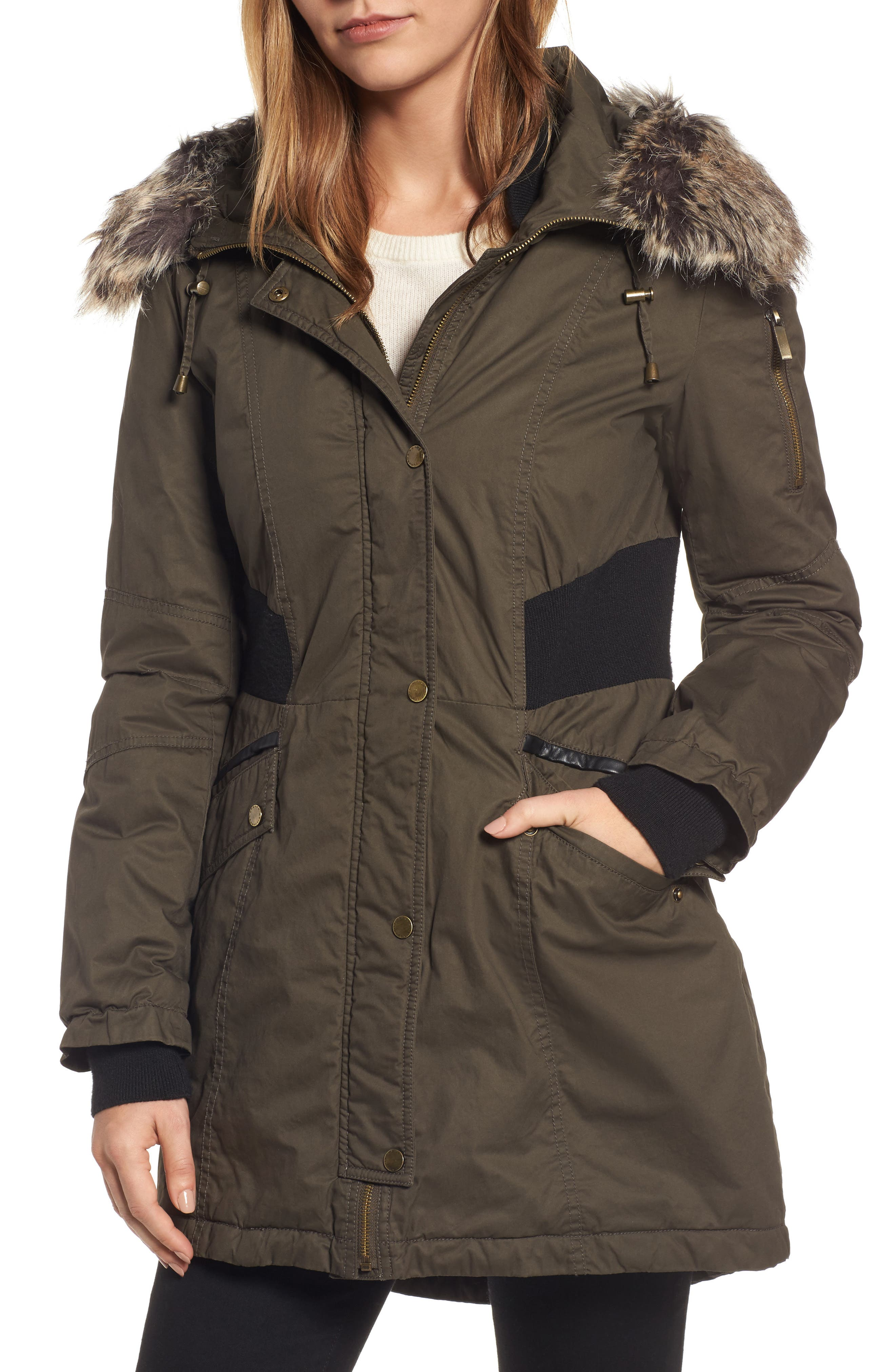 Main Image - French Connection Mixed Media Parka with Faux Fur Trim Hood (Regular & Petite)