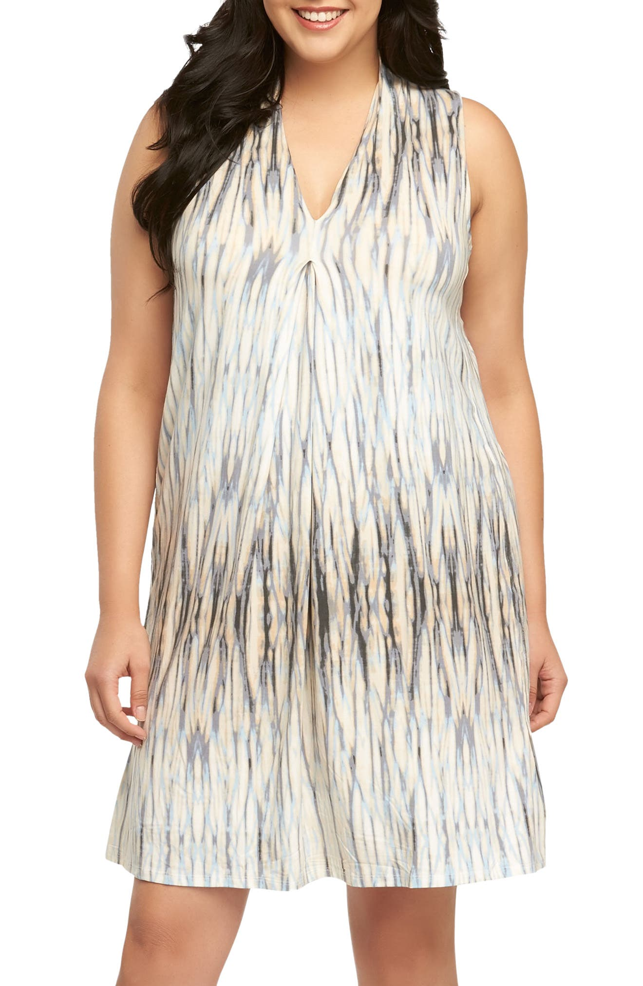 'Tara' Print Jersey A-Line Dress,                         Main,                         color, Water Reflections