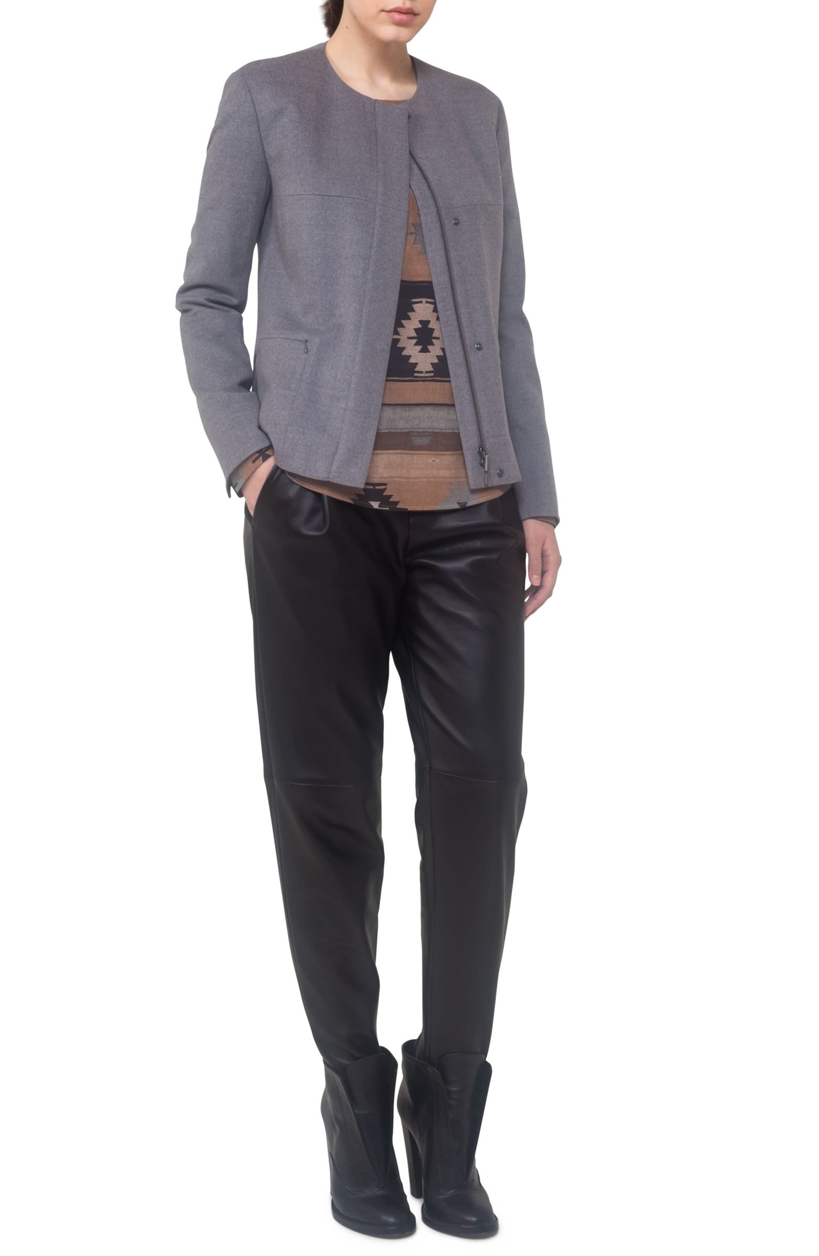 Wool A-Line Jacket,                             Alternate thumbnail 3, color,                             Stone